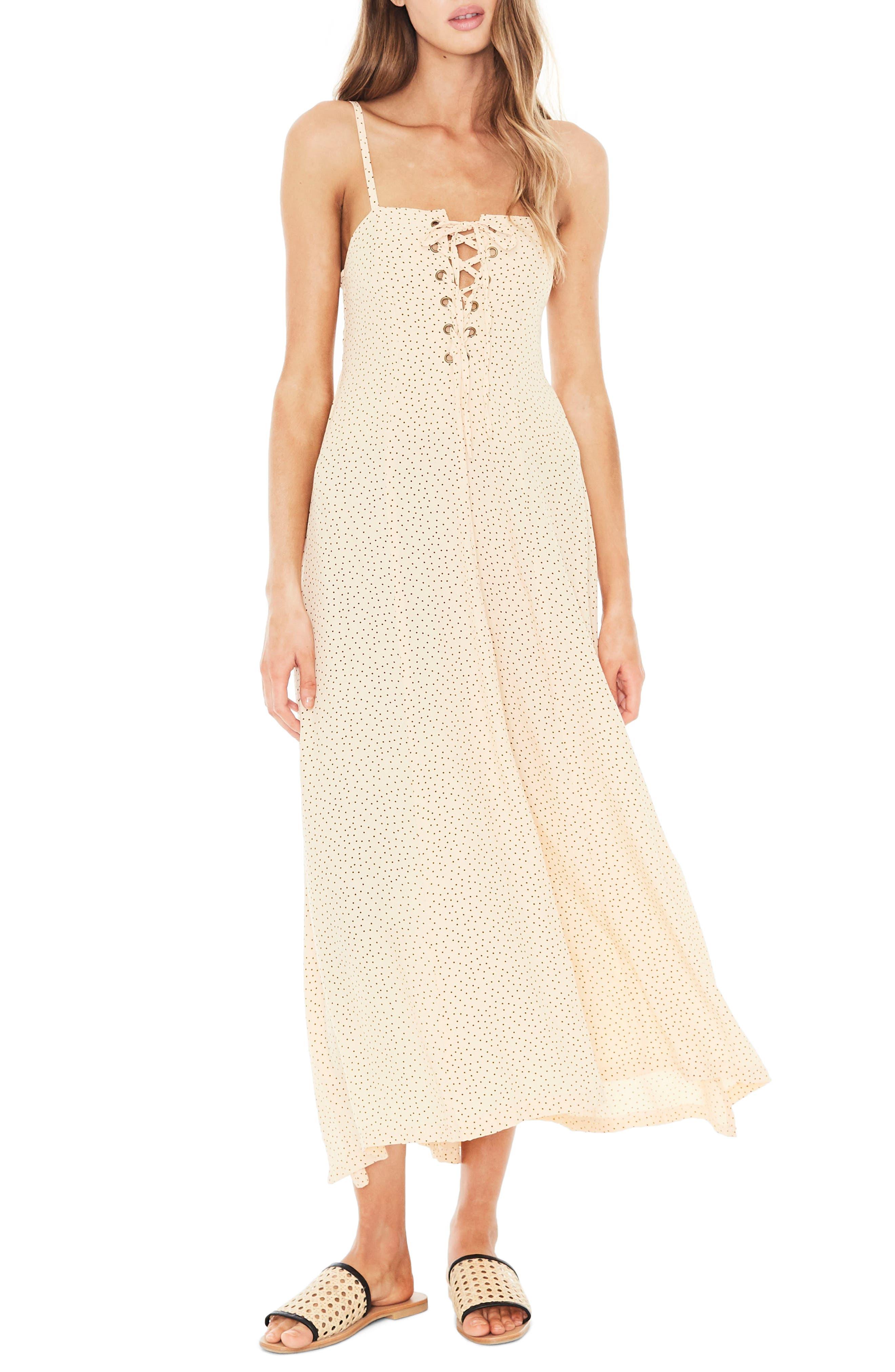 Mirador Lace-Up Midi Dress,                         Main,                         color, 900