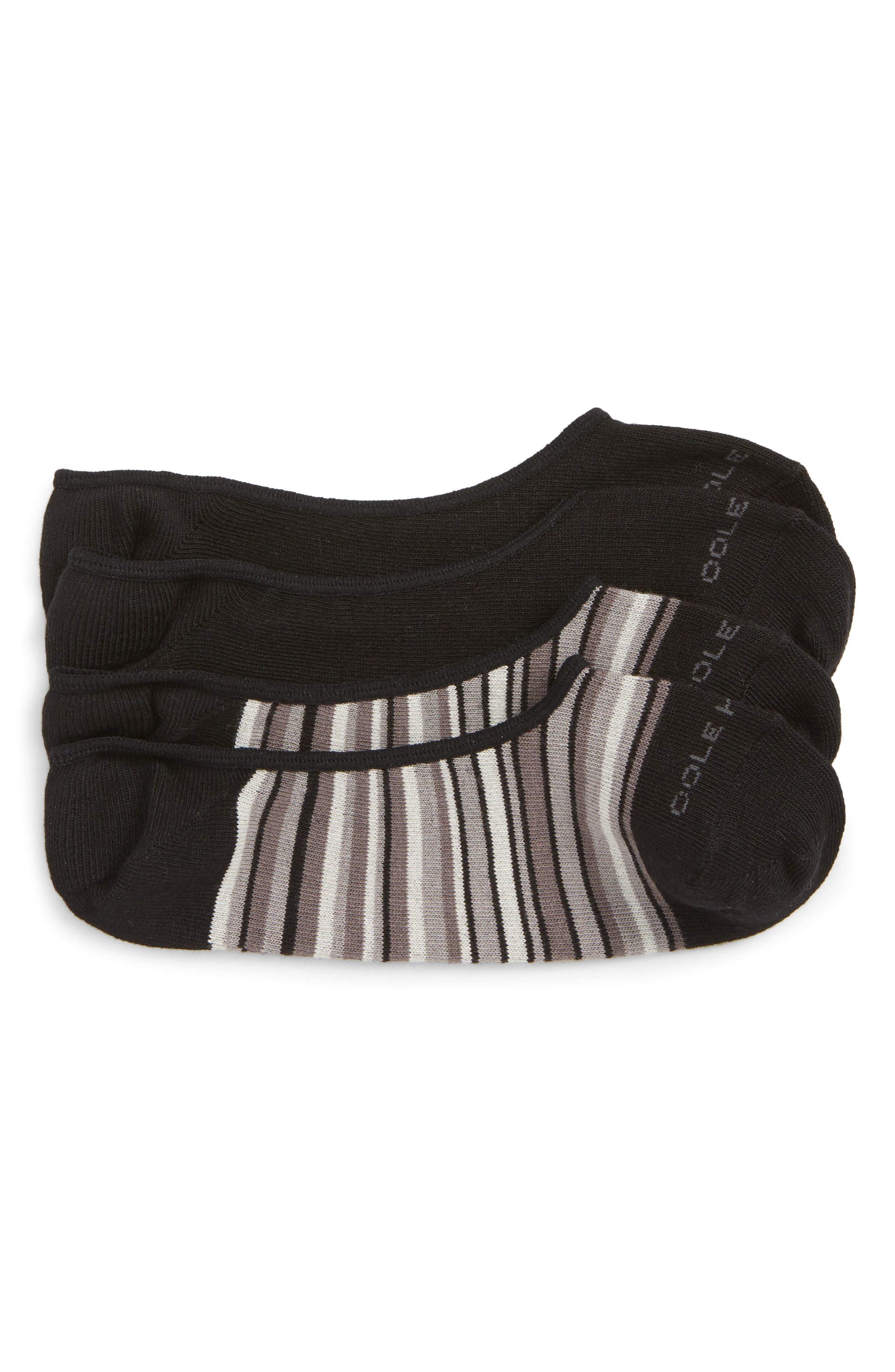 2-Pack Town Stripe No-Show Socks,                             Main thumbnail 1, color,                             BLACK