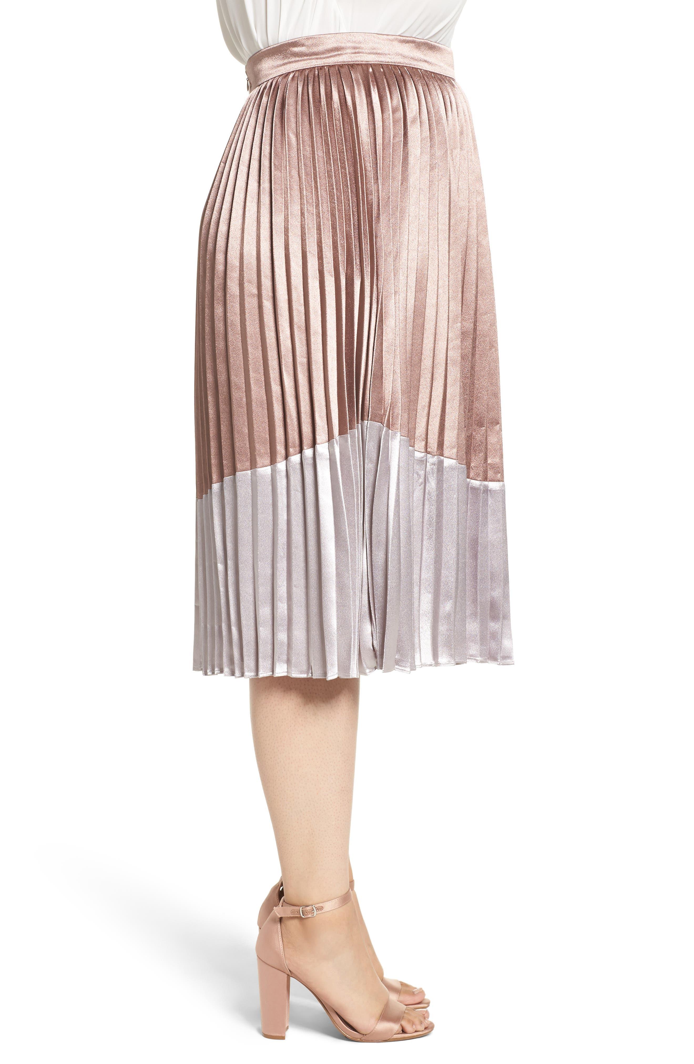 Pleat Metallic Skirt,                             Alternate thumbnail 3, color,                             650