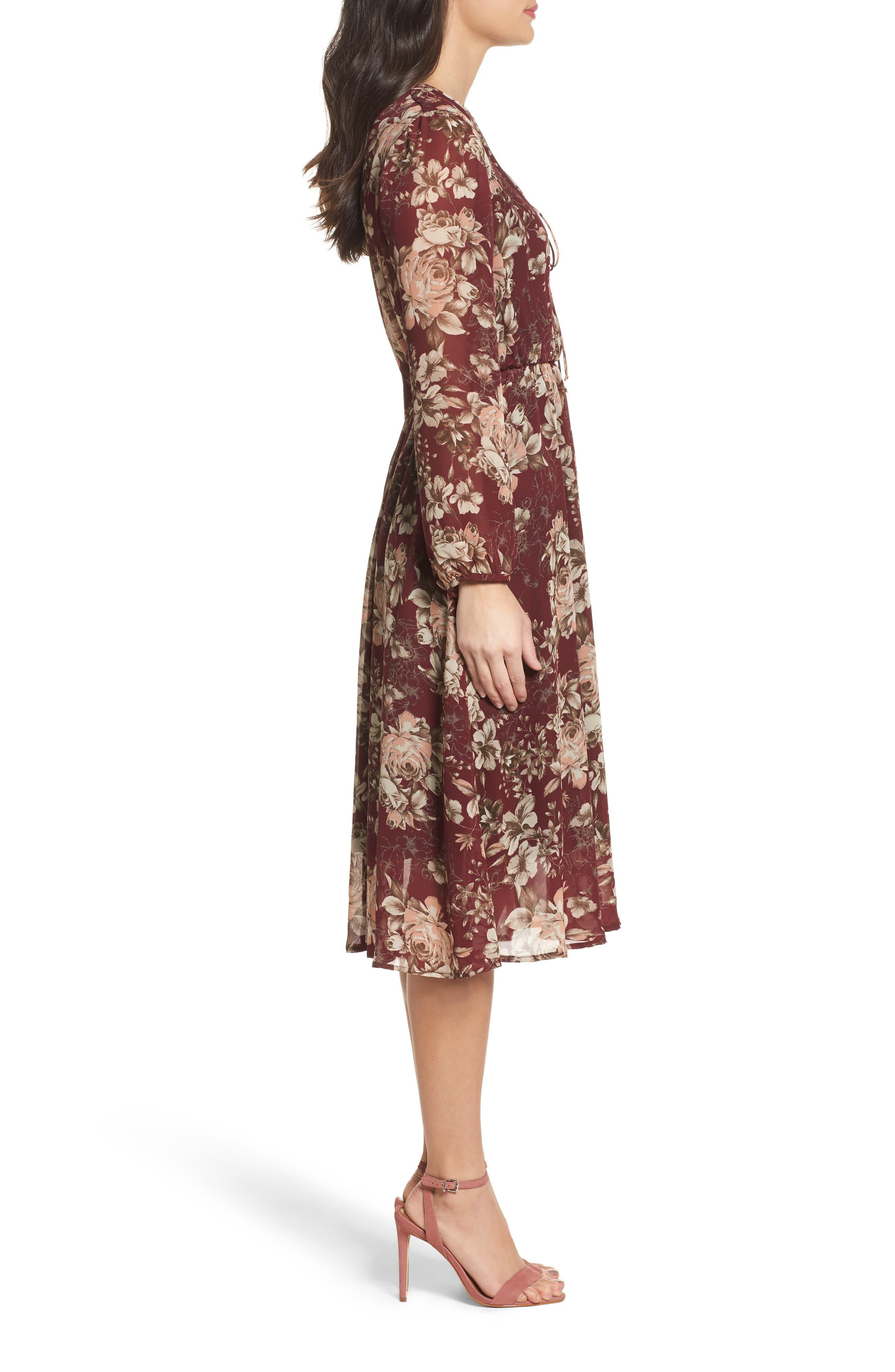 Blouson Midi Dress,                             Alternate thumbnail 3, color,