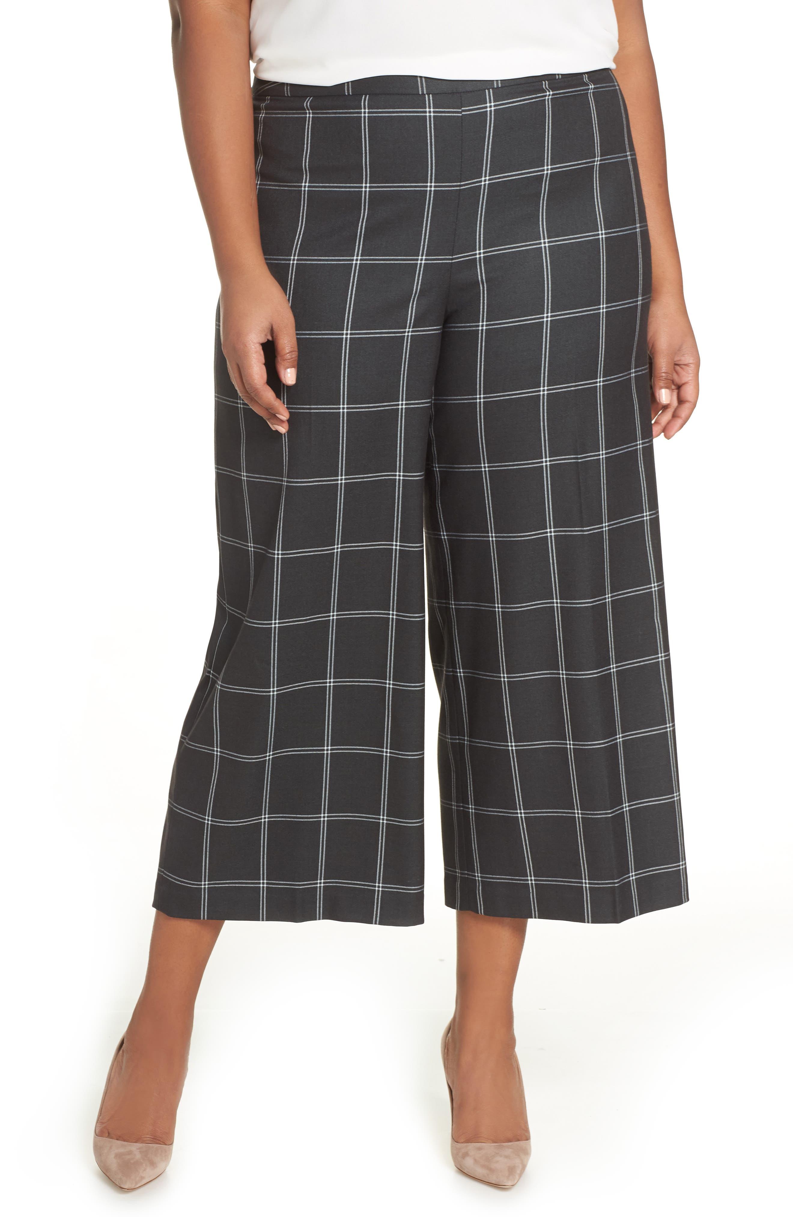 Windowpane Check Wide Leg Crop Pants,                             Main thumbnail 1, color,                             GREY TWILL PLAID