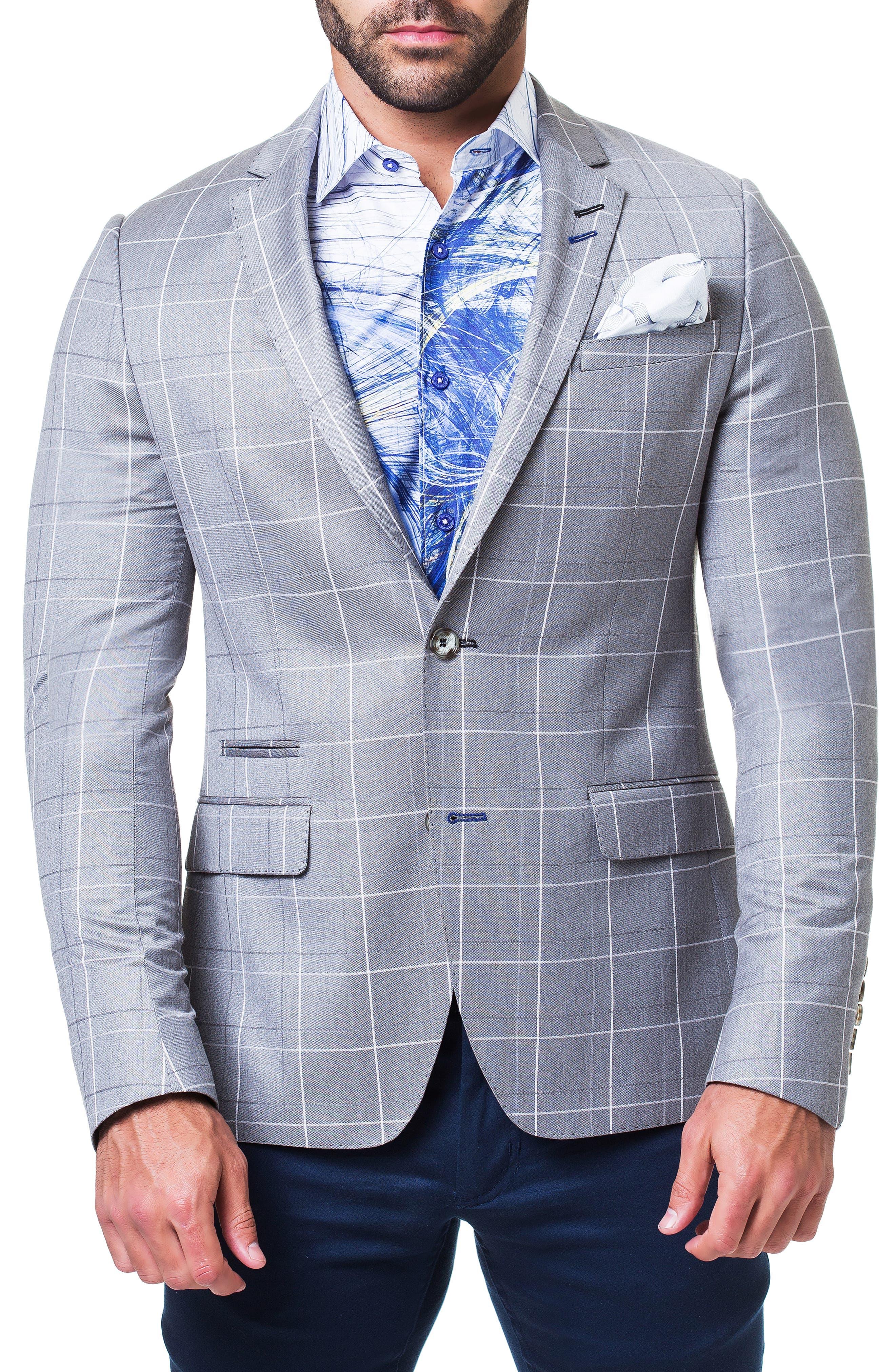 MACEOO Socrate Strip Sport Coat in Grey