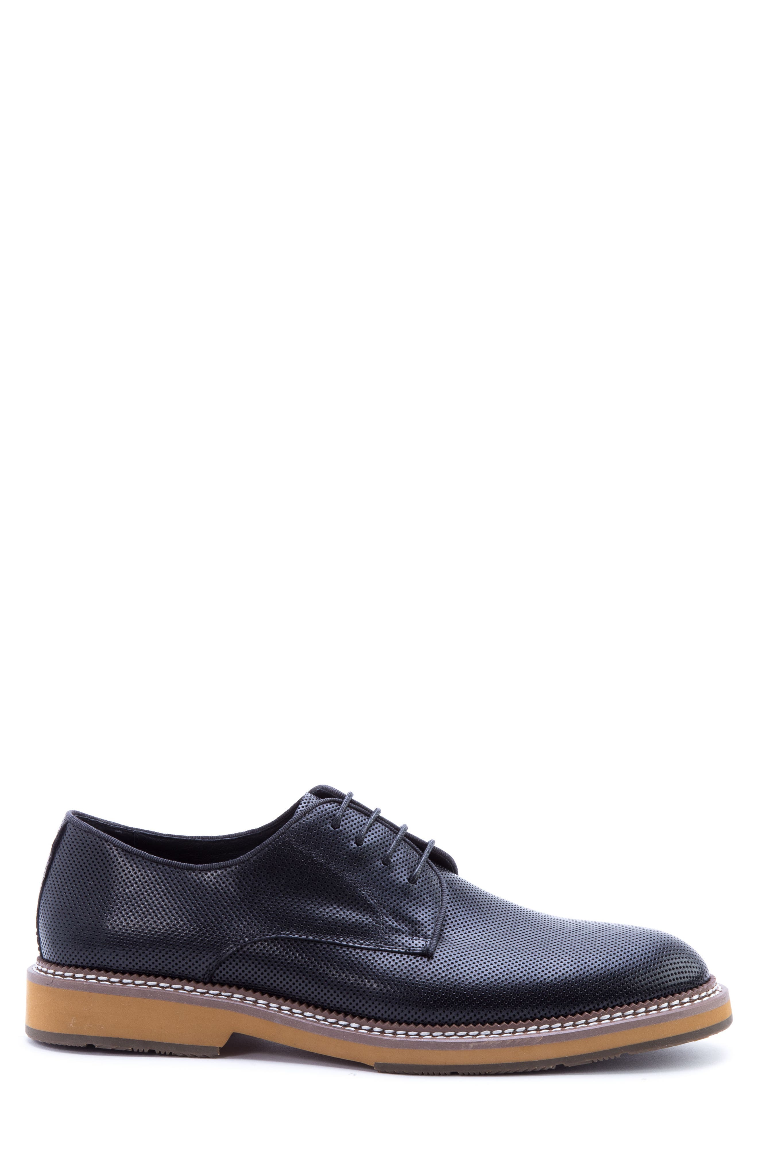 Monticello Perforated Plain Toe Derby,                             Alternate thumbnail 3, color,                             BLACK LEATHER