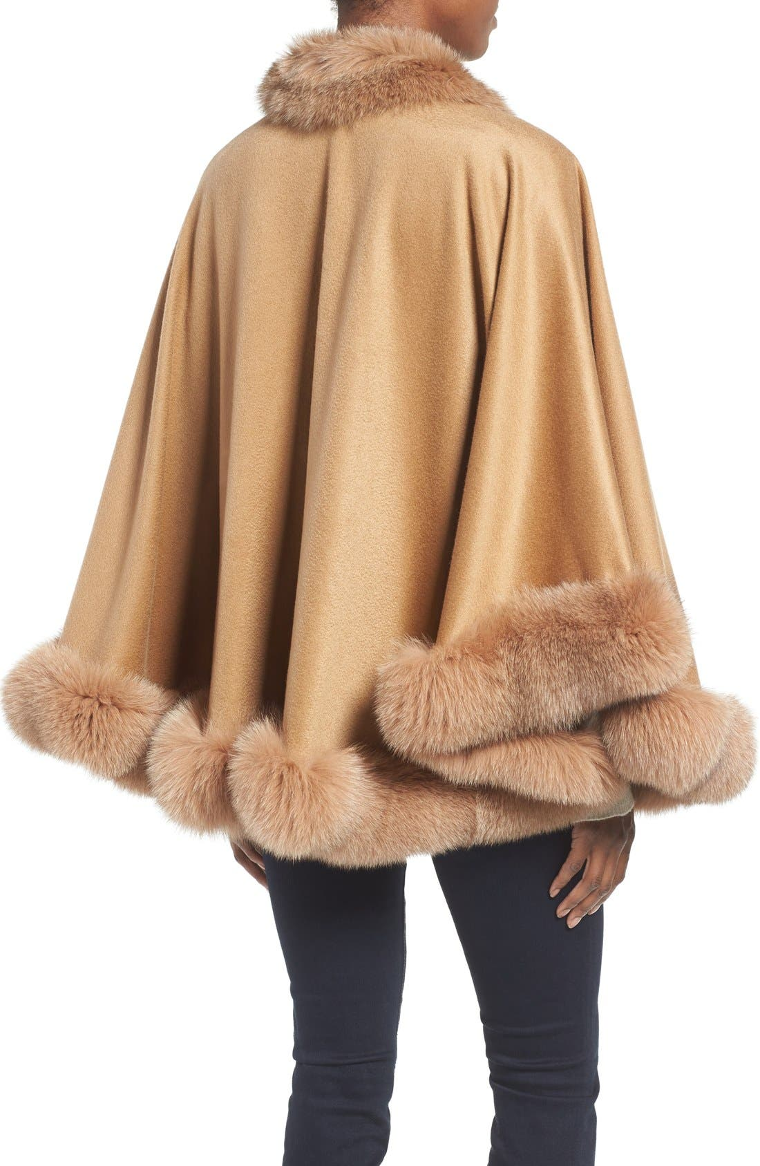 Genuine Fox Fur Trim Short Cashmere Cape,                             Alternate thumbnail 11, color,