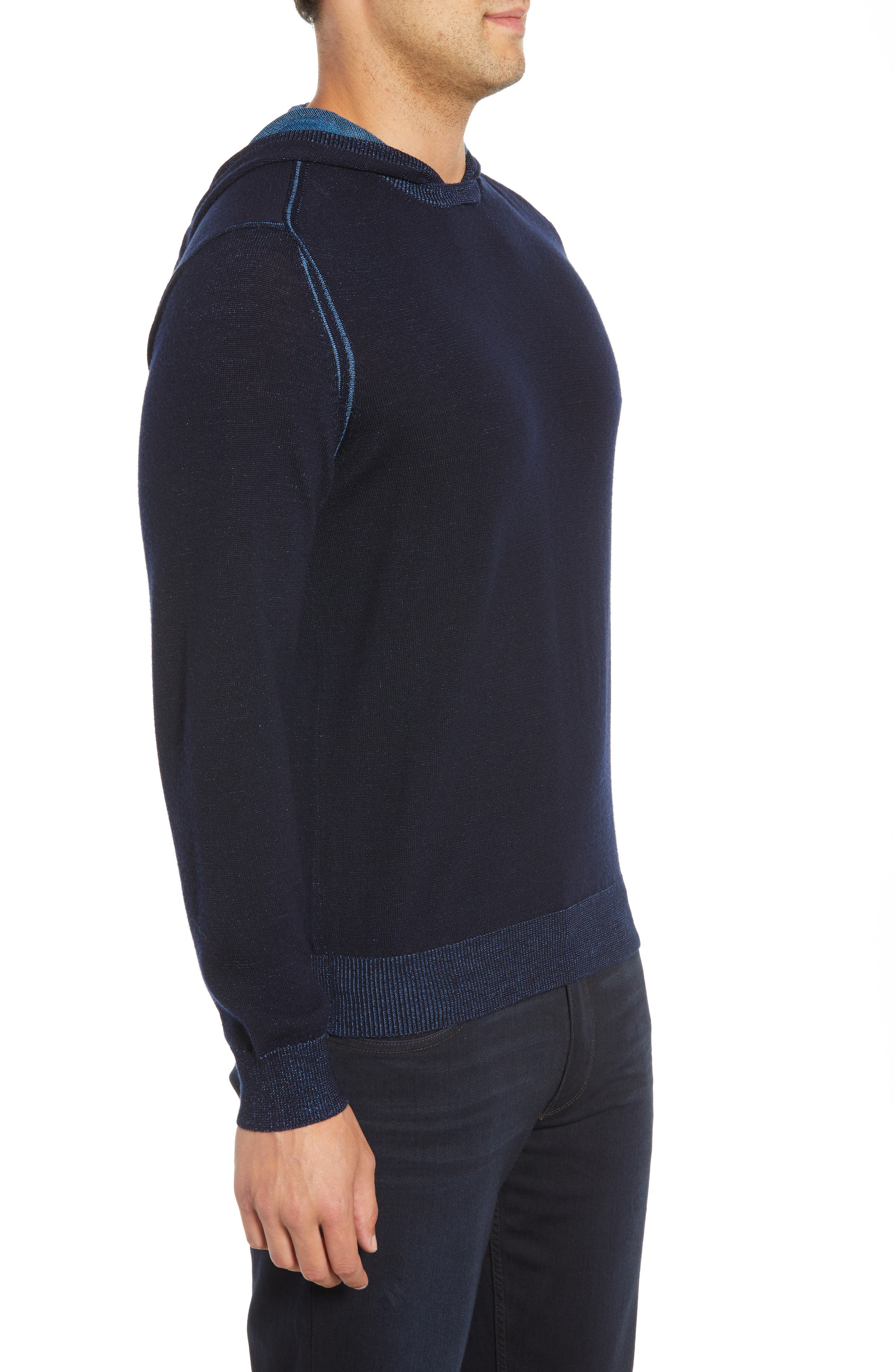 Hooded Pullover Sweater,                             Alternate thumbnail 3, color,                             NIGHT BLUE