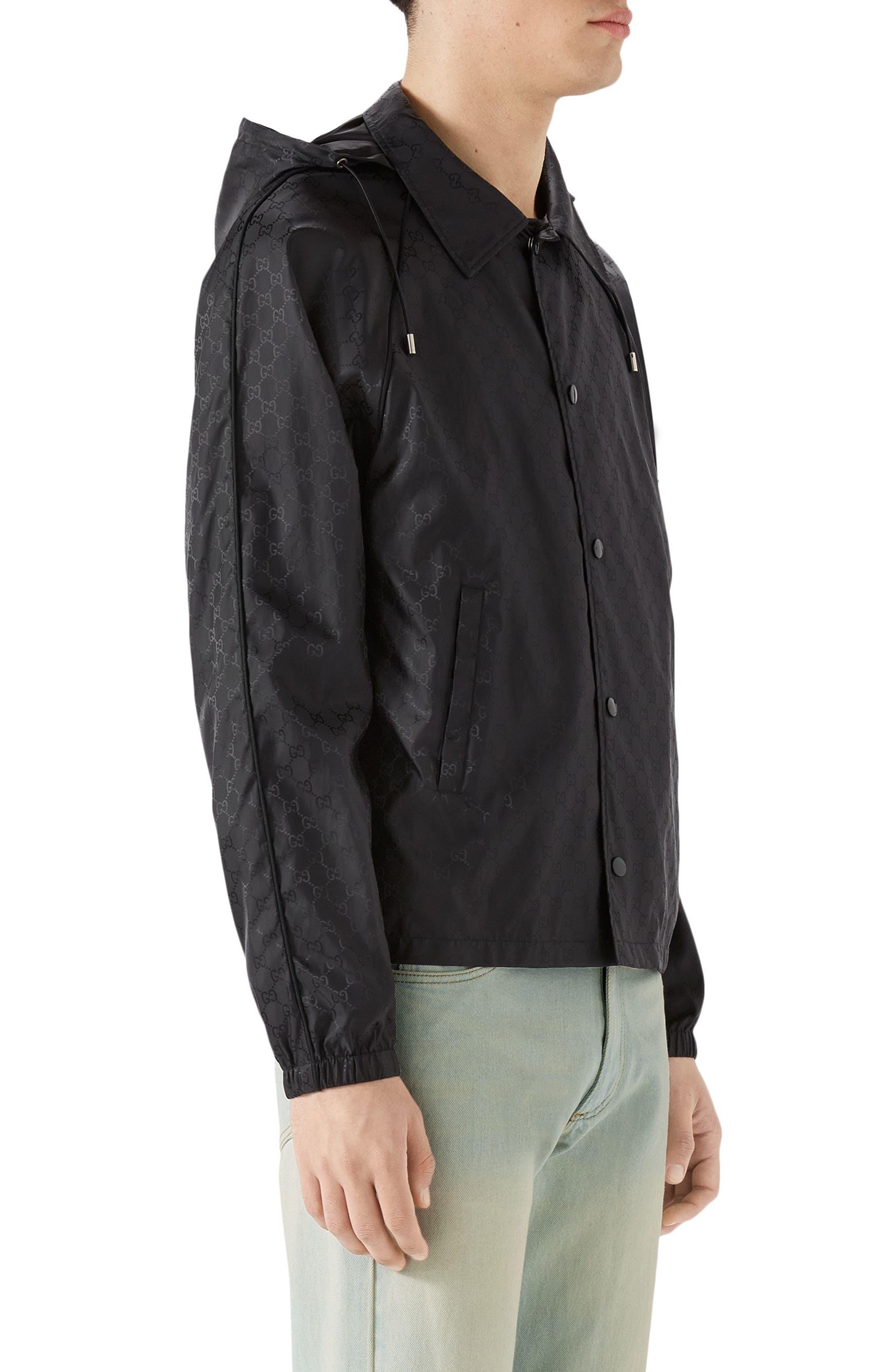 GG Jacquard Print Nylon Jacket,                             Alternate thumbnail 3, color,                             BLACK
