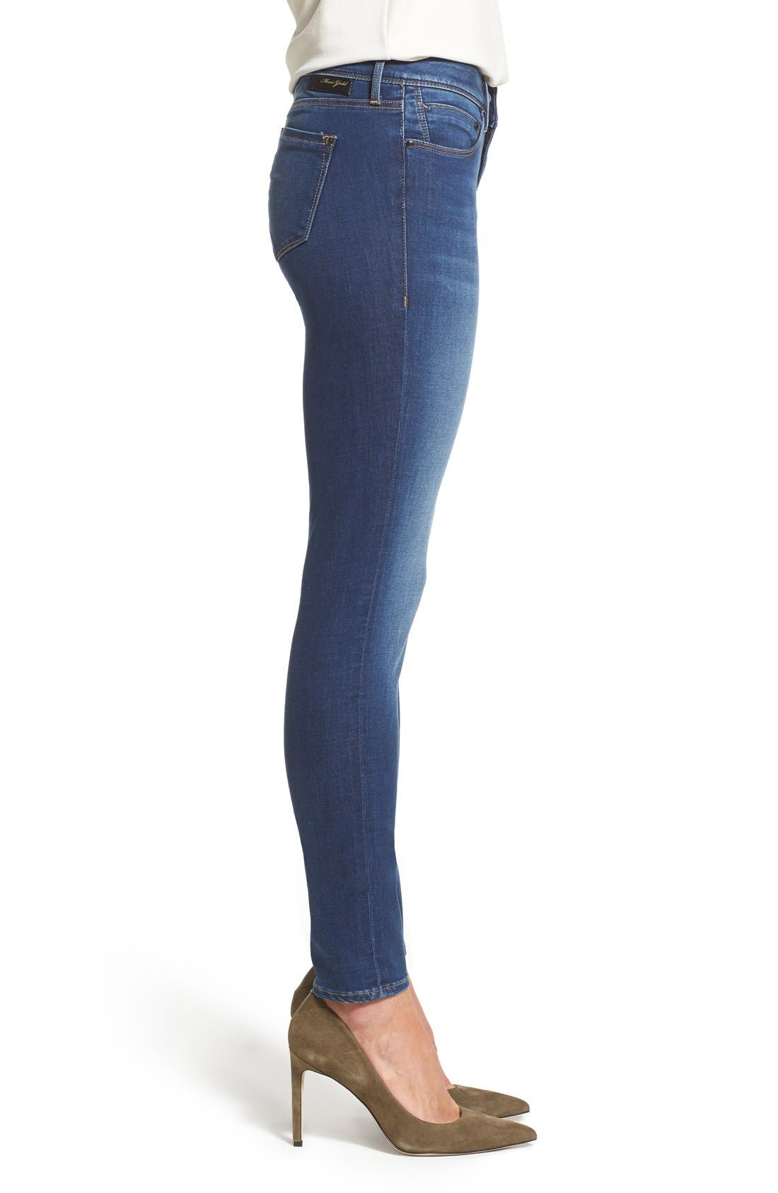 Gold 'Adriana' Stretch Super Skinny Jeans,                             Alternate thumbnail 3, color,                             401
