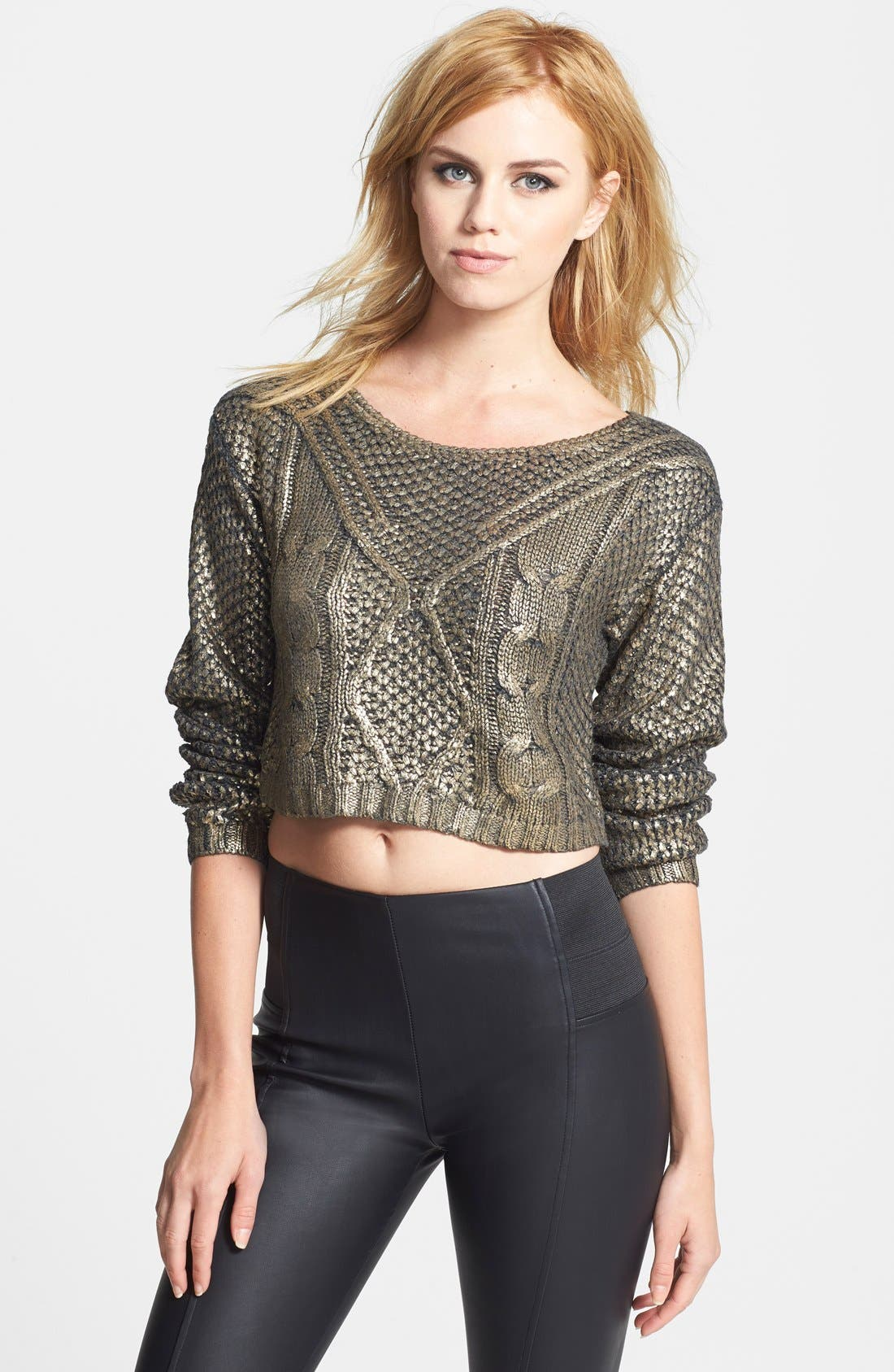 LUCY PARIS,                             Coated Crop Sweater,                             Main thumbnail 1, color,                             220