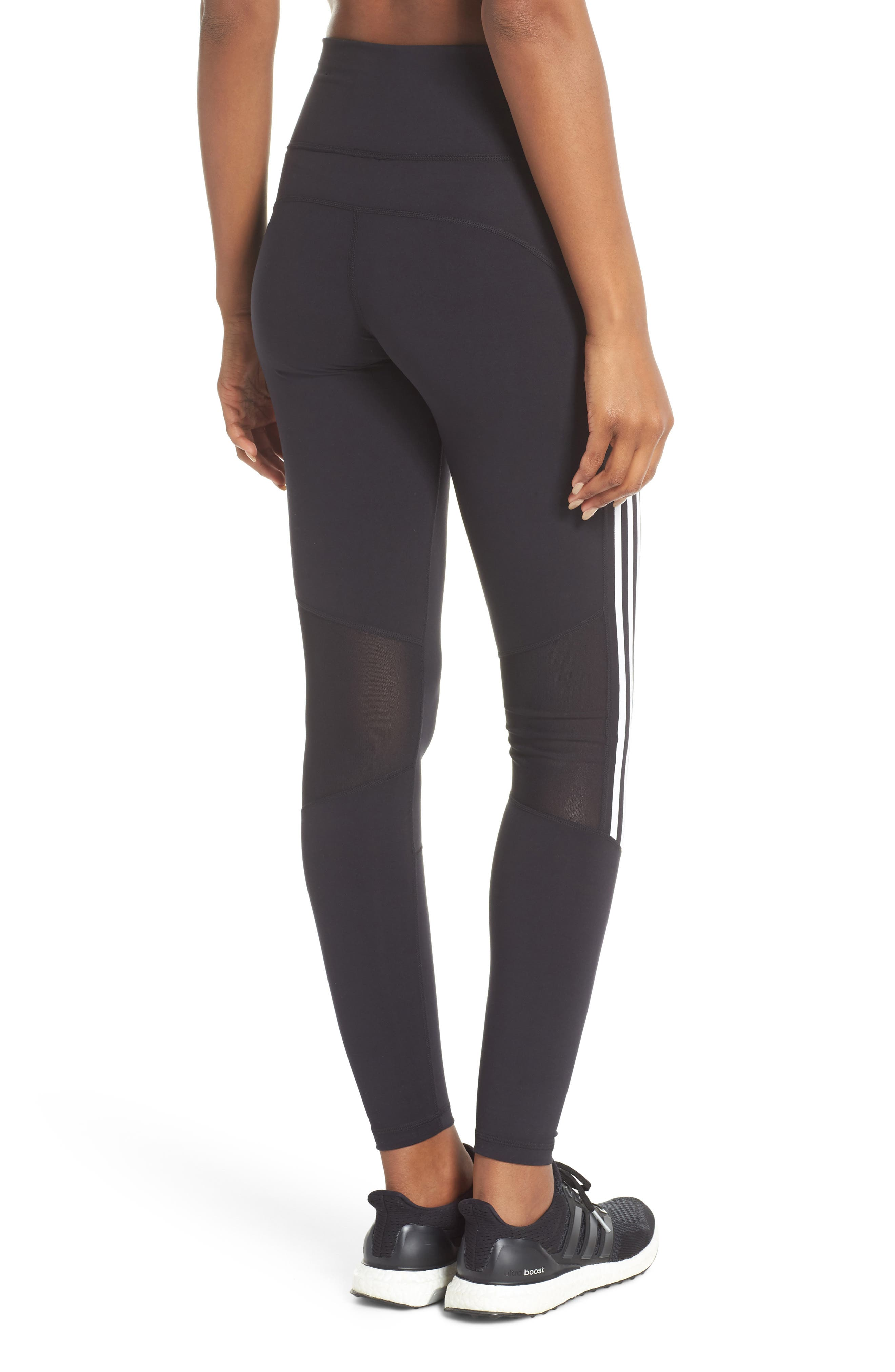 Believe This 3-Stripes High Waist Ankle Leggings,                             Alternate thumbnail 2, color,                             BLACK/ WHITE