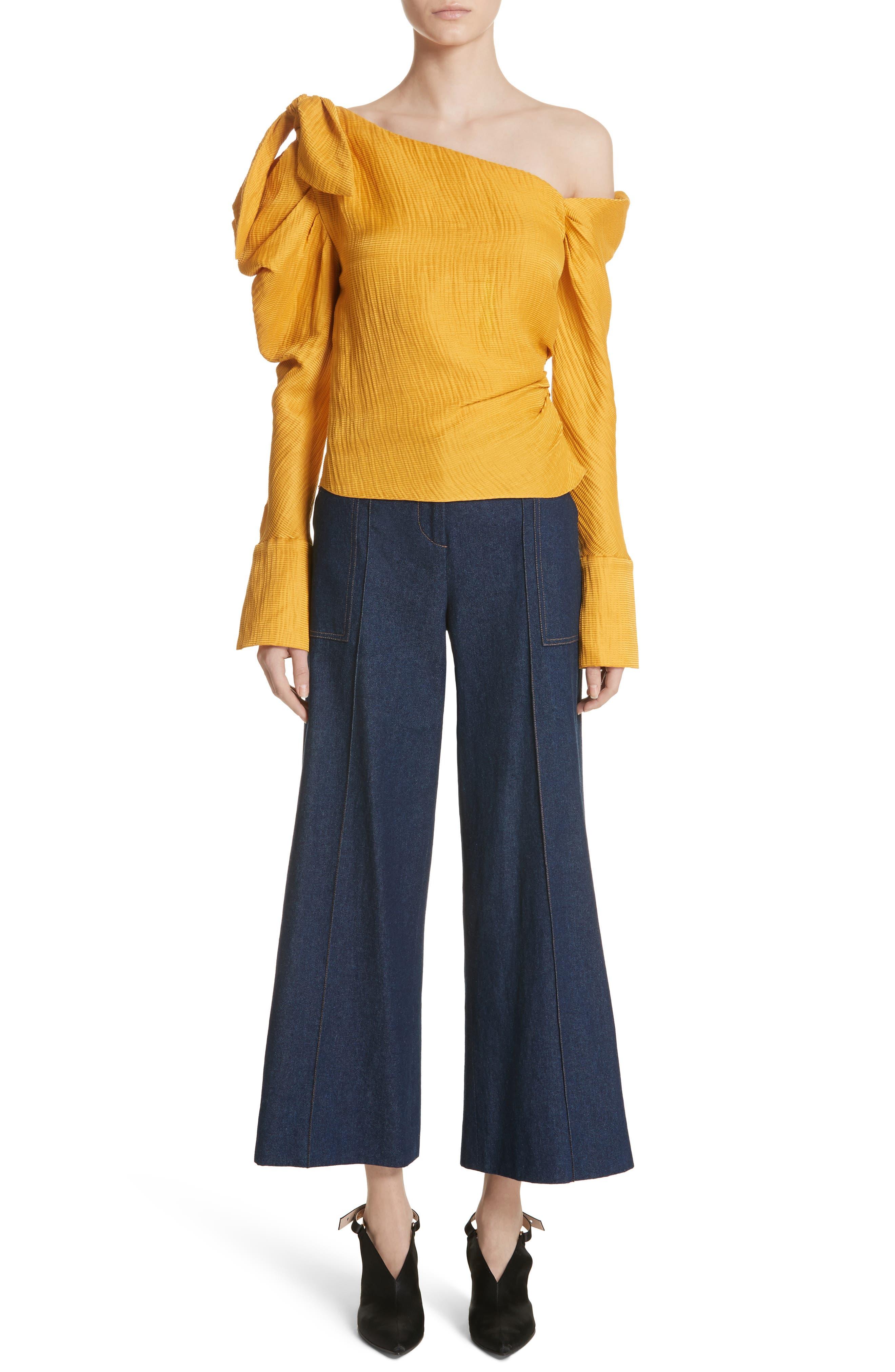 Dune Imitation Pearl Trim Wide Leg Crop Jeans,                             Alternate thumbnail 6, color,                             400
