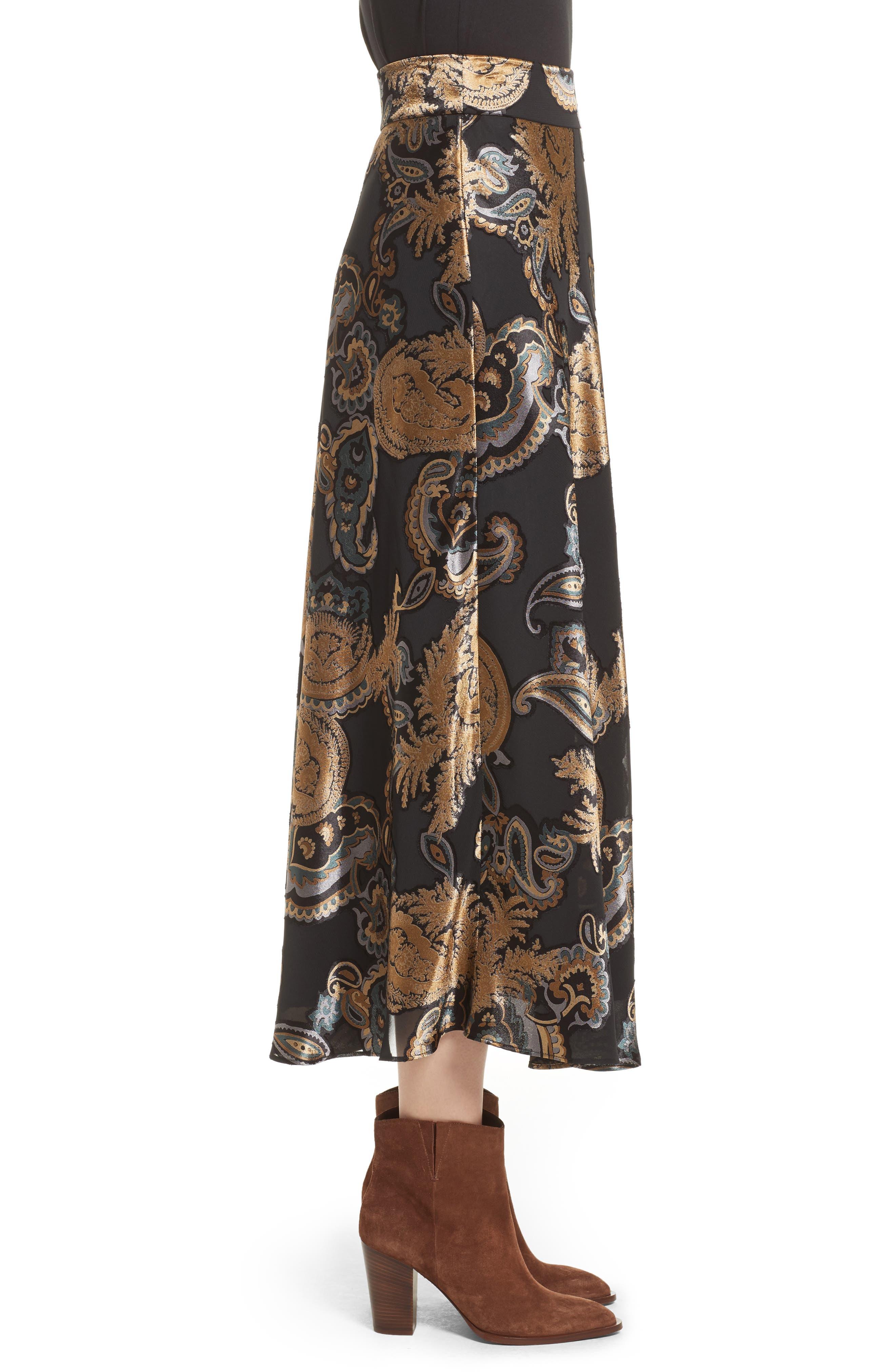Kamara Renaissance Paisley Devoré Skirt,                             Alternate thumbnail 3, color,                             001