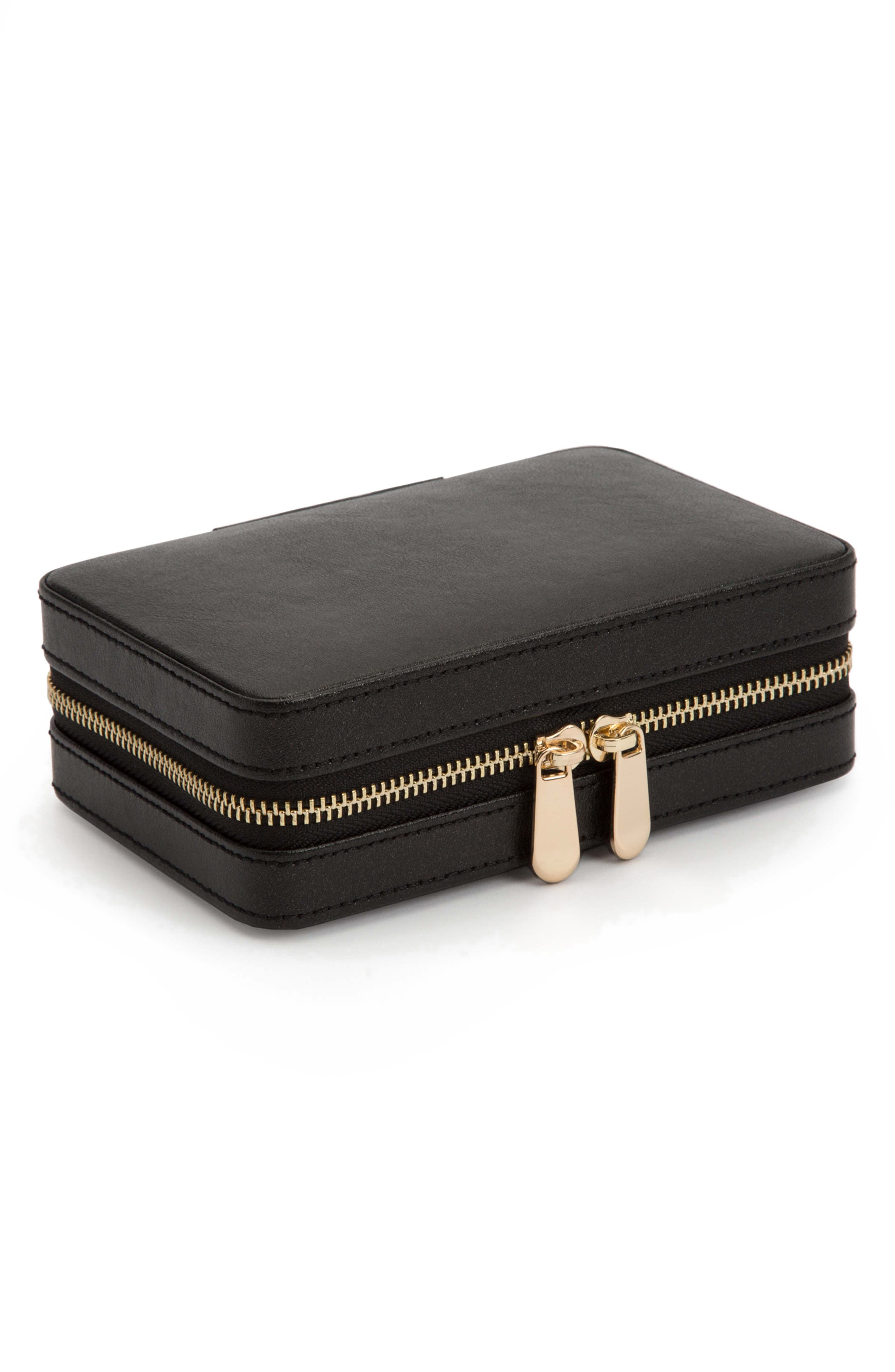 Palermo Zip Jewelry Case,                             Alternate thumbnail 4, color,                             BLACK