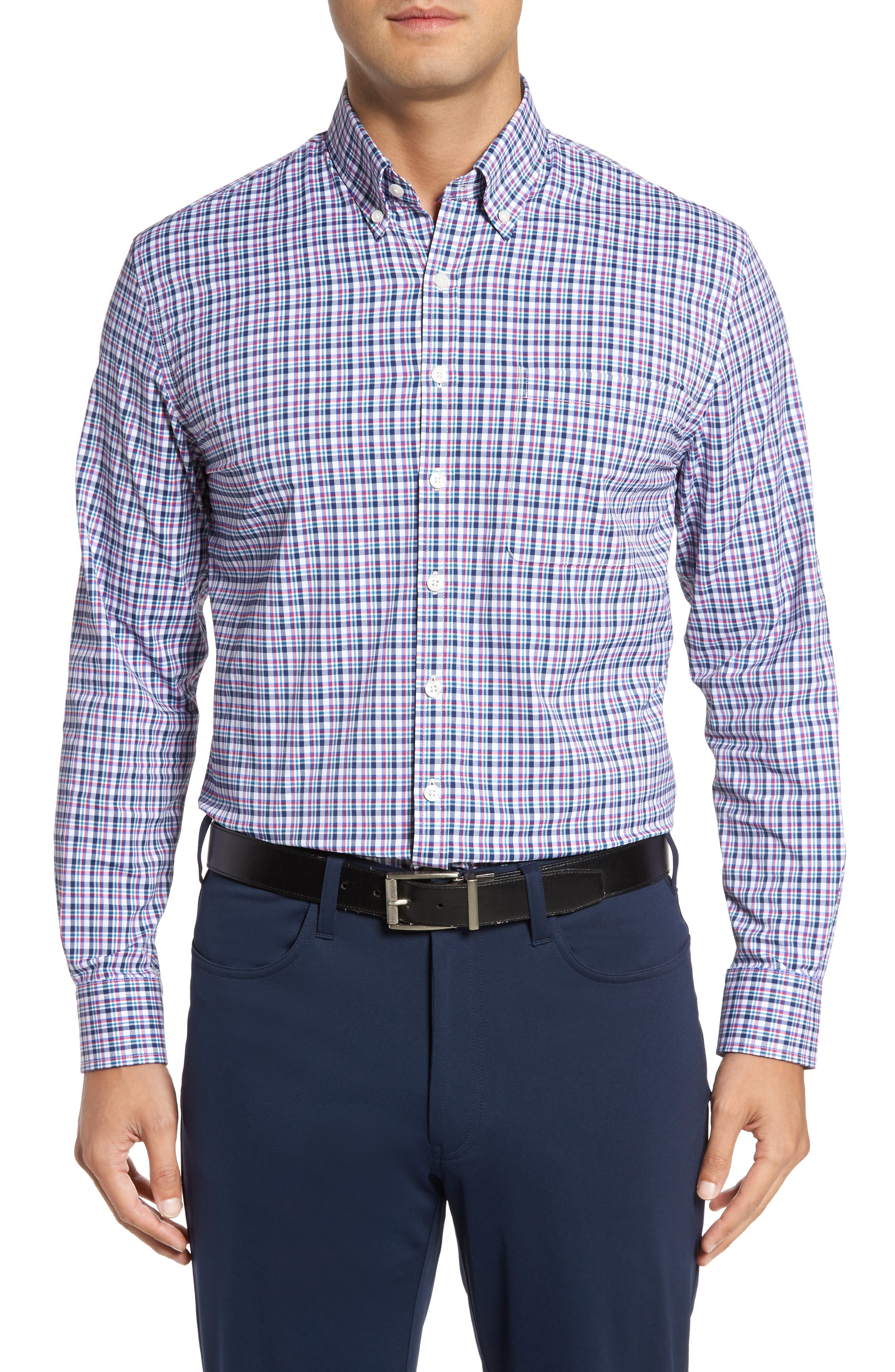 Matthers Easy Care Plaid Sport Shirt,                             Main thumbnail 1, color,                             490