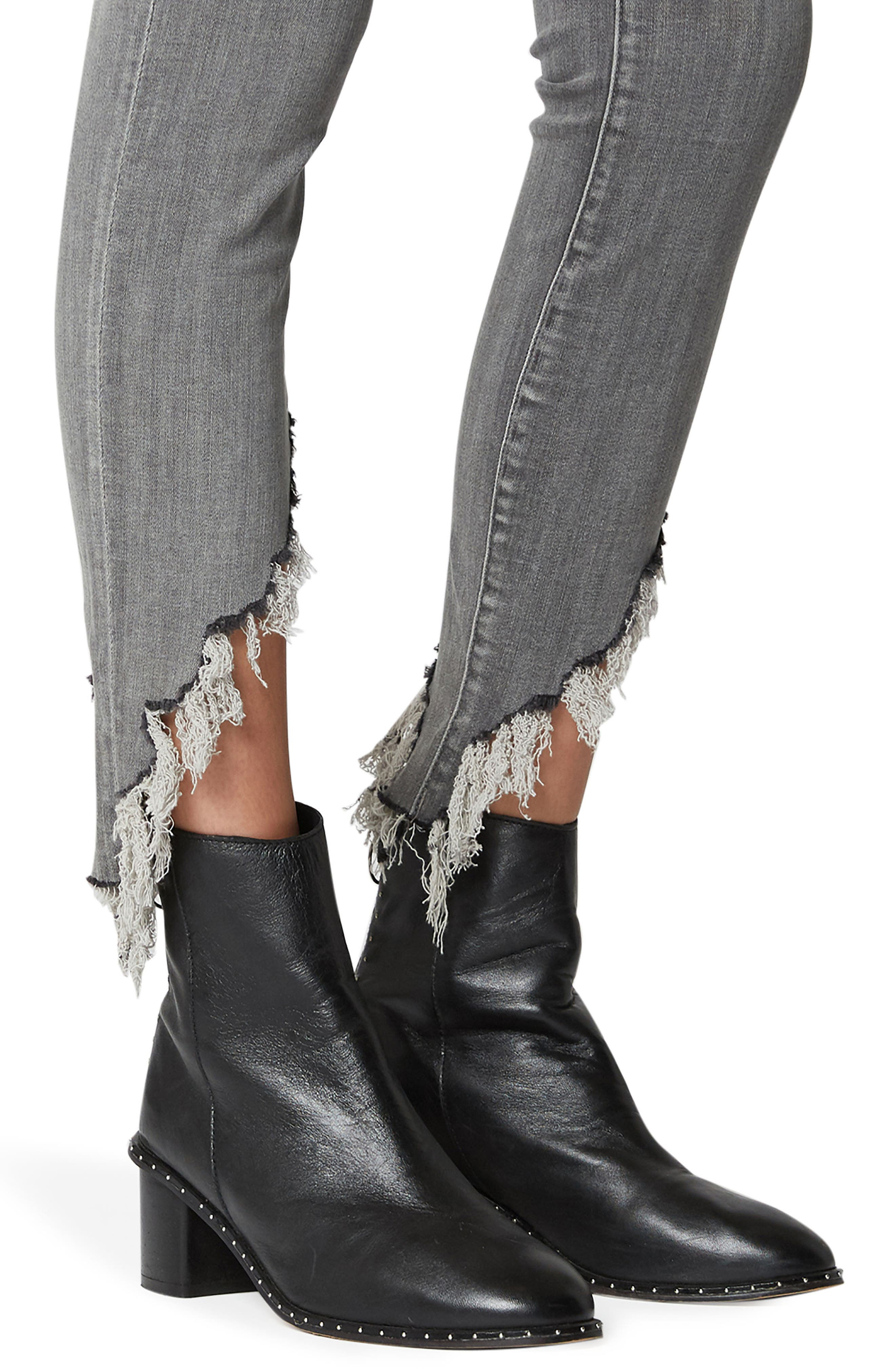 The Bond Asymmetrical Frayed Hem Skinny Jeans,                             Alternate thumbnail 4, color,                             SKY SCRAPER