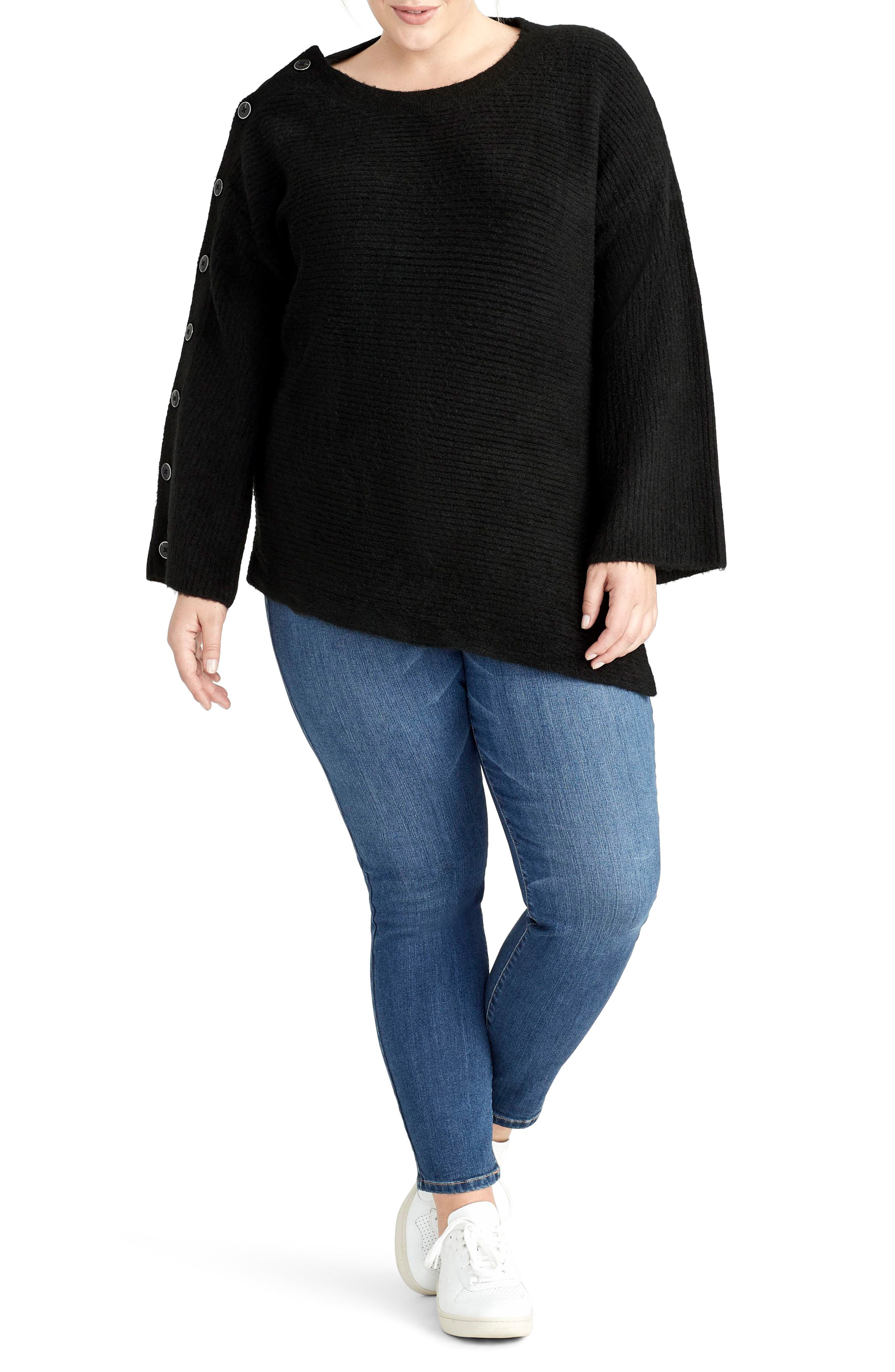 Adley Button Sleeve Sweater,                         Main,                         color, BLACK