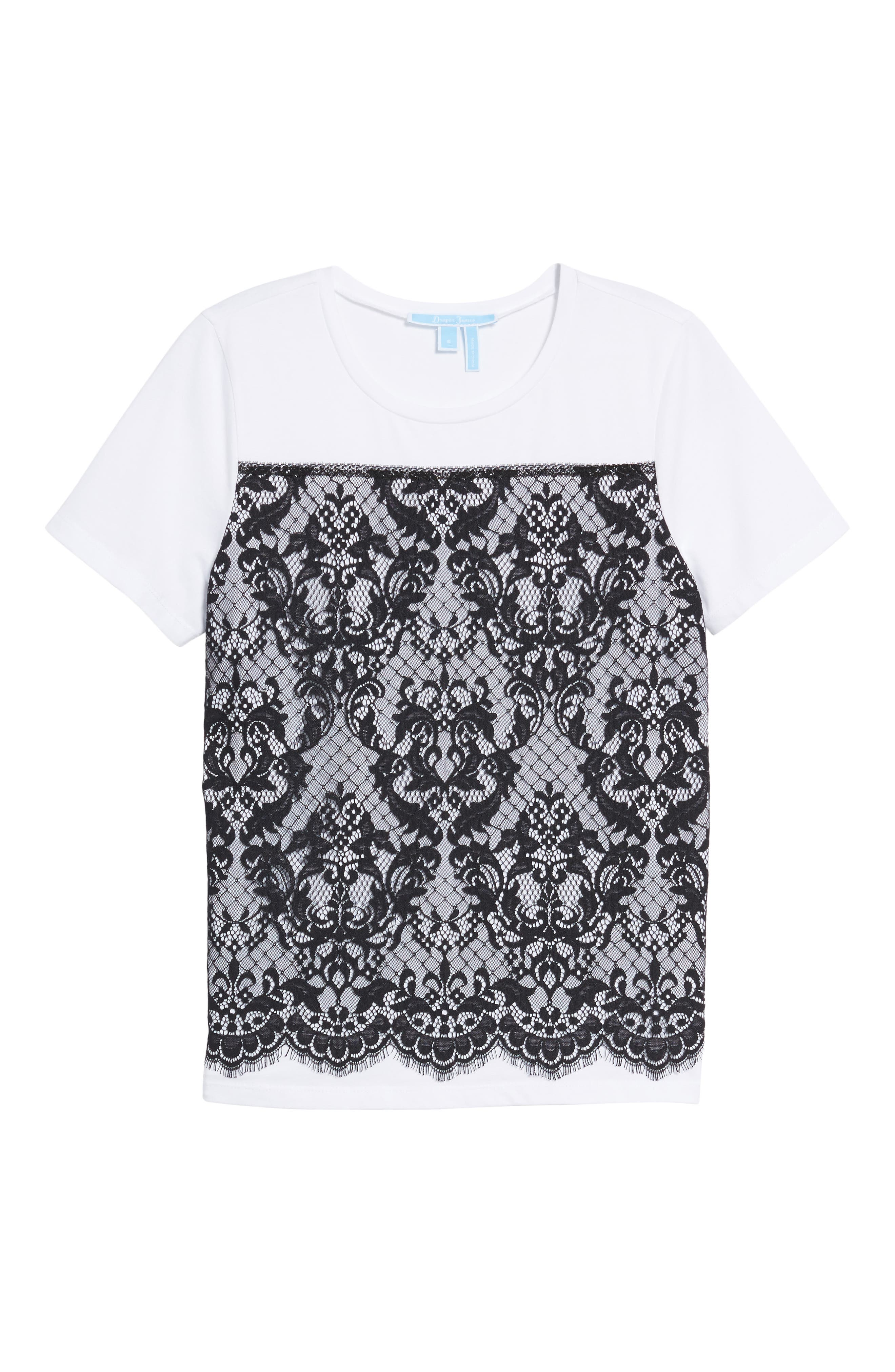 Lace Panel Tee,                             Alternate thumbnail 6, color,                             100