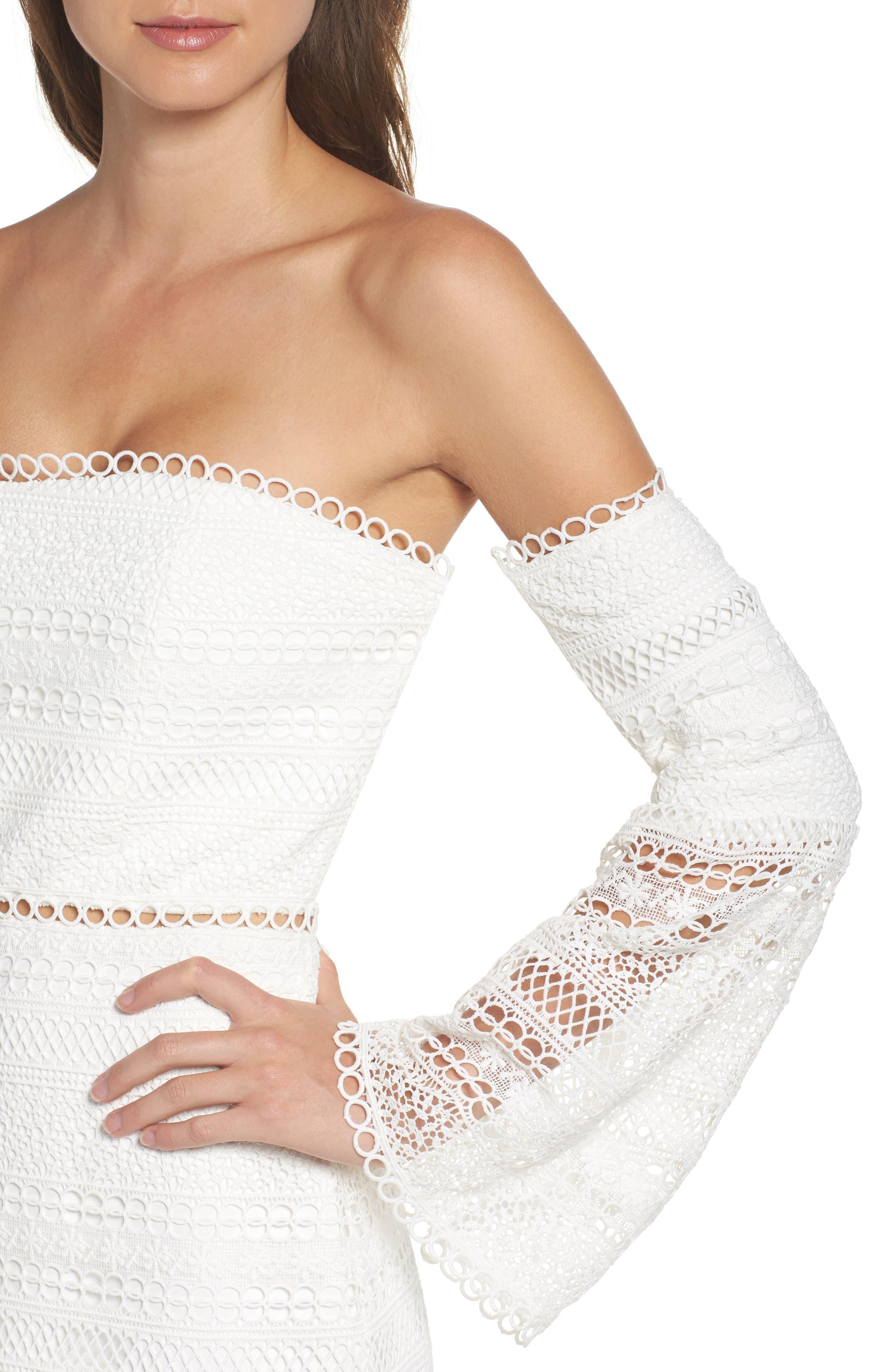 Catalina Lace Off the Shoulder Sheath Dress,                             Alternate thumbnail 4, color,                             100