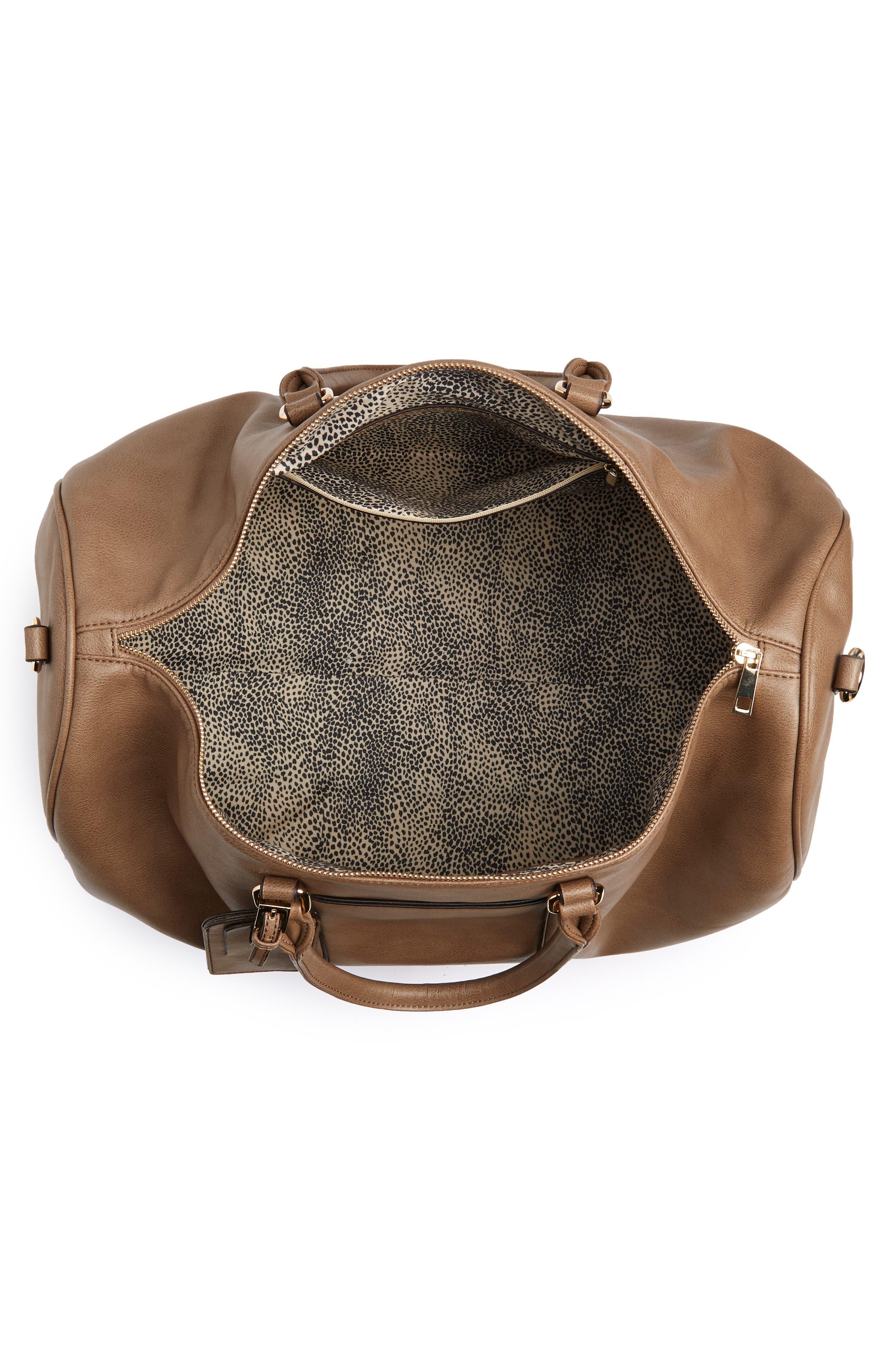 'Lacie' Faux Leather Duffel Bag,                             Alternate thumbnail 4, color,                             022
