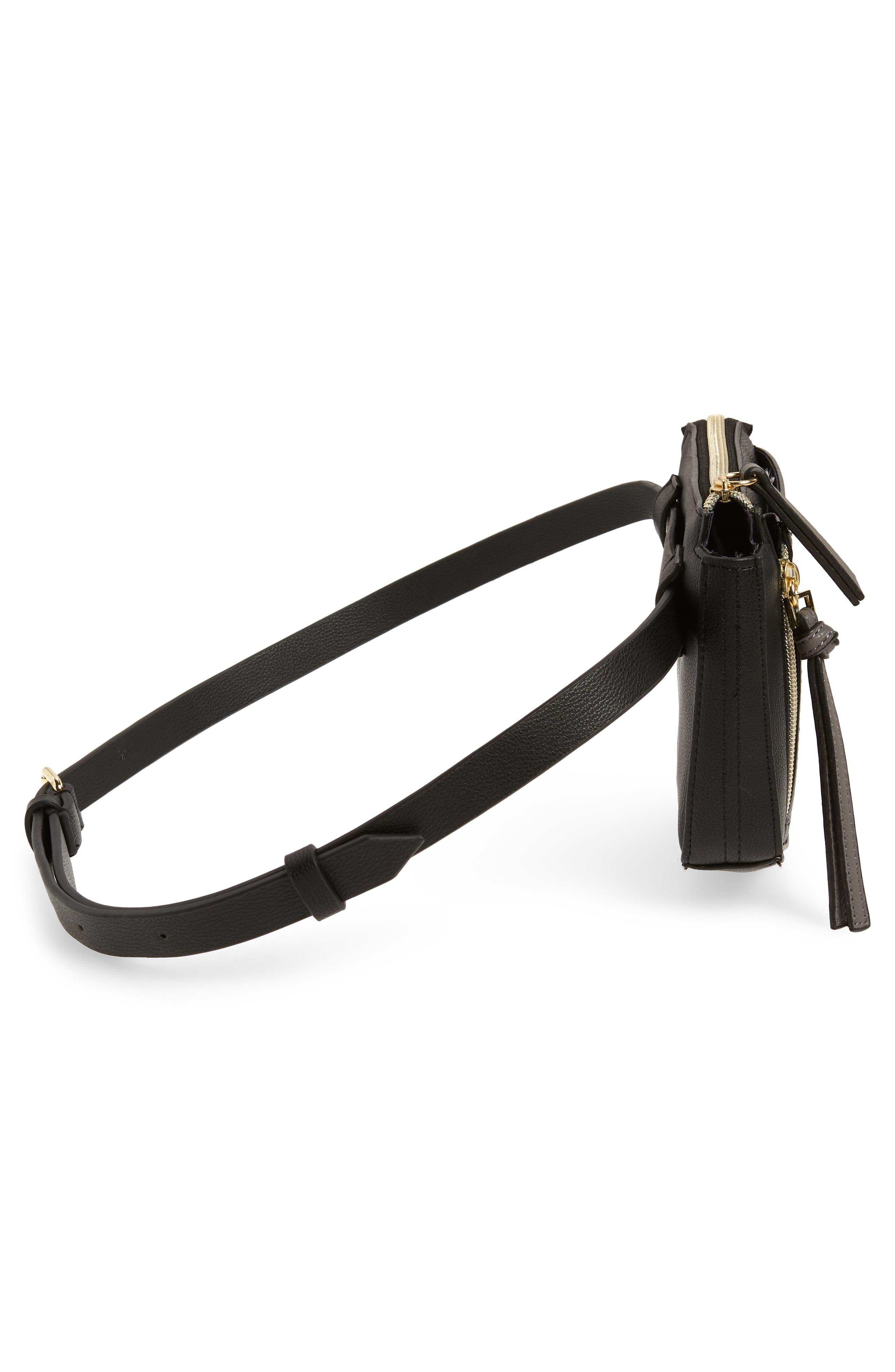Elia Faux Leather Belt Bag,                             Alternate thumbnail 6, color,                             BLACK
