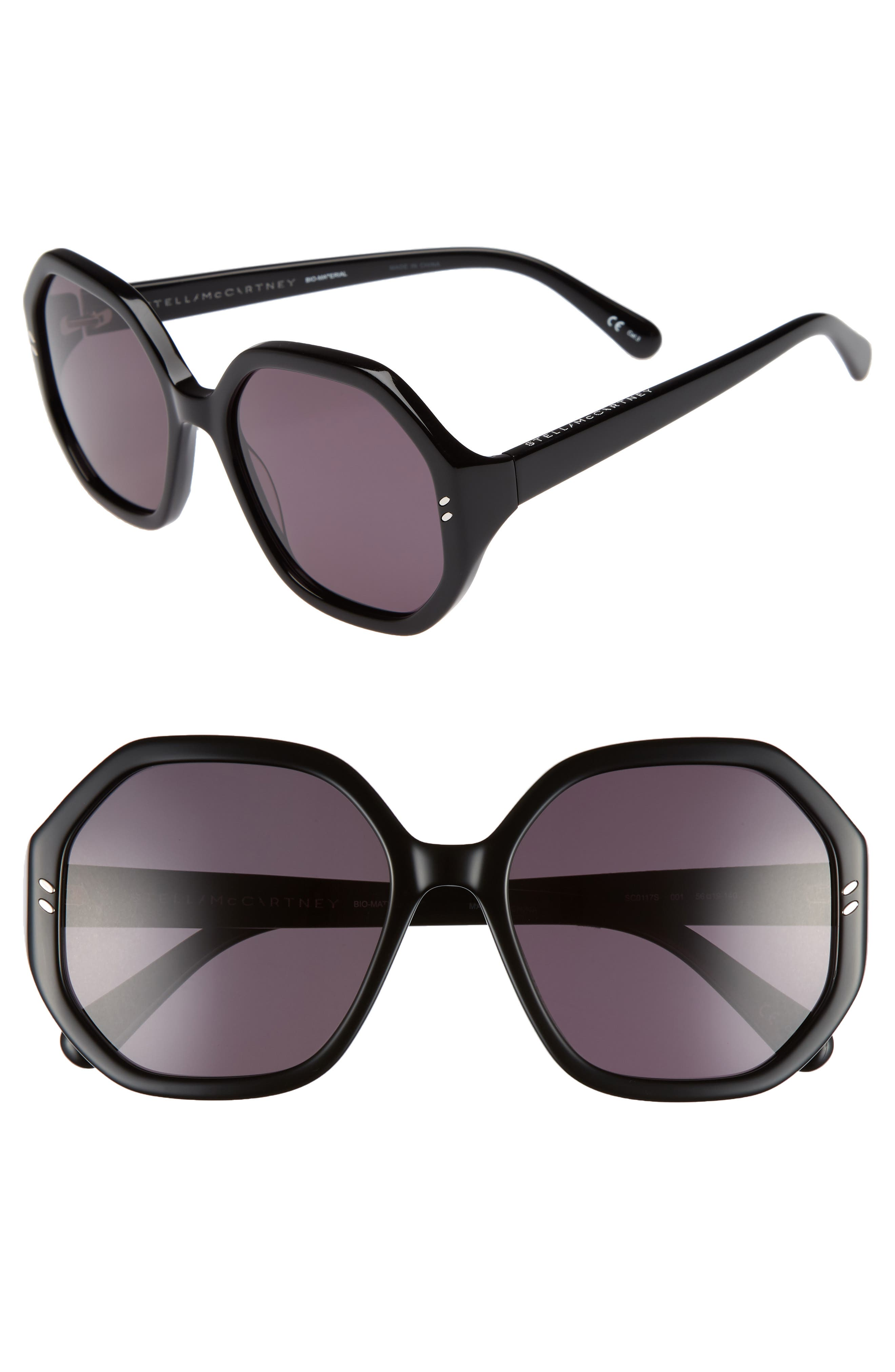 56mm Hexagonal Sunglasses,                             Main thumbnail 1, color,                             BLACK