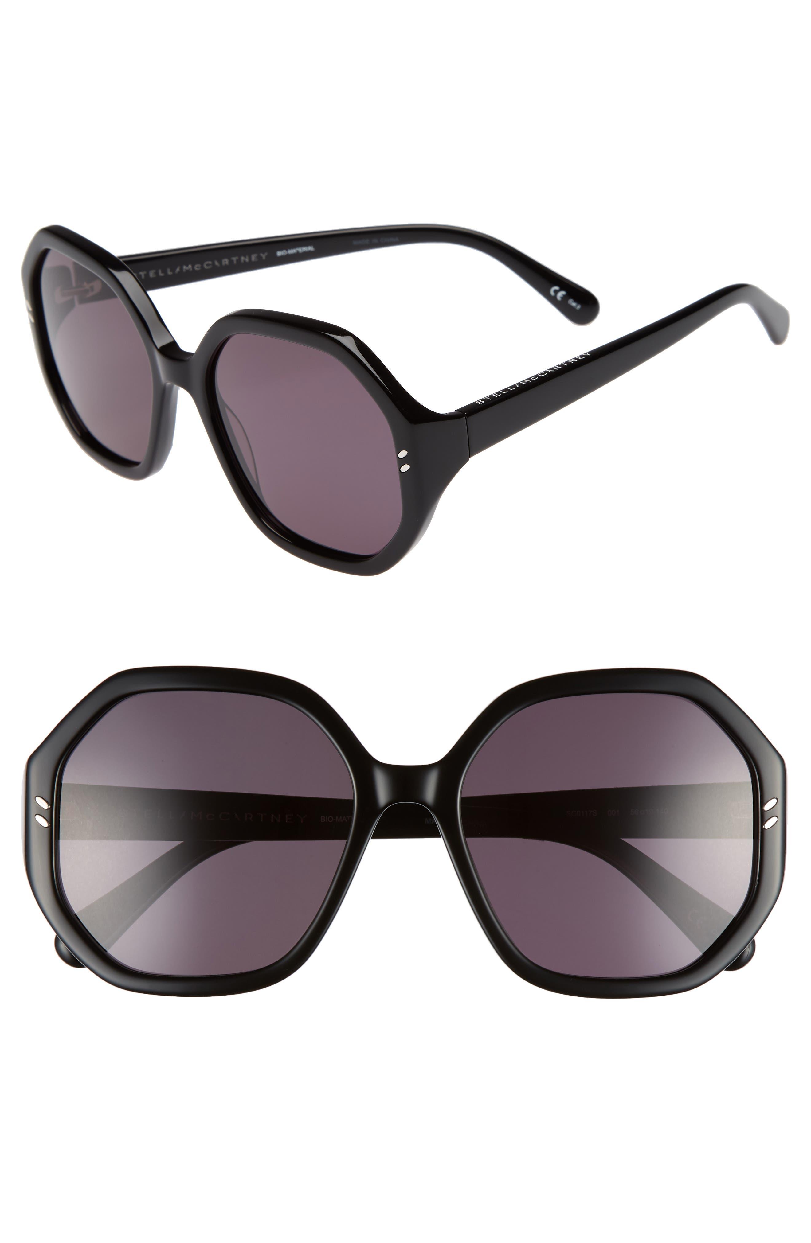 56mm Hexagonal Sunglasses,                         Main,                         color, BLACK