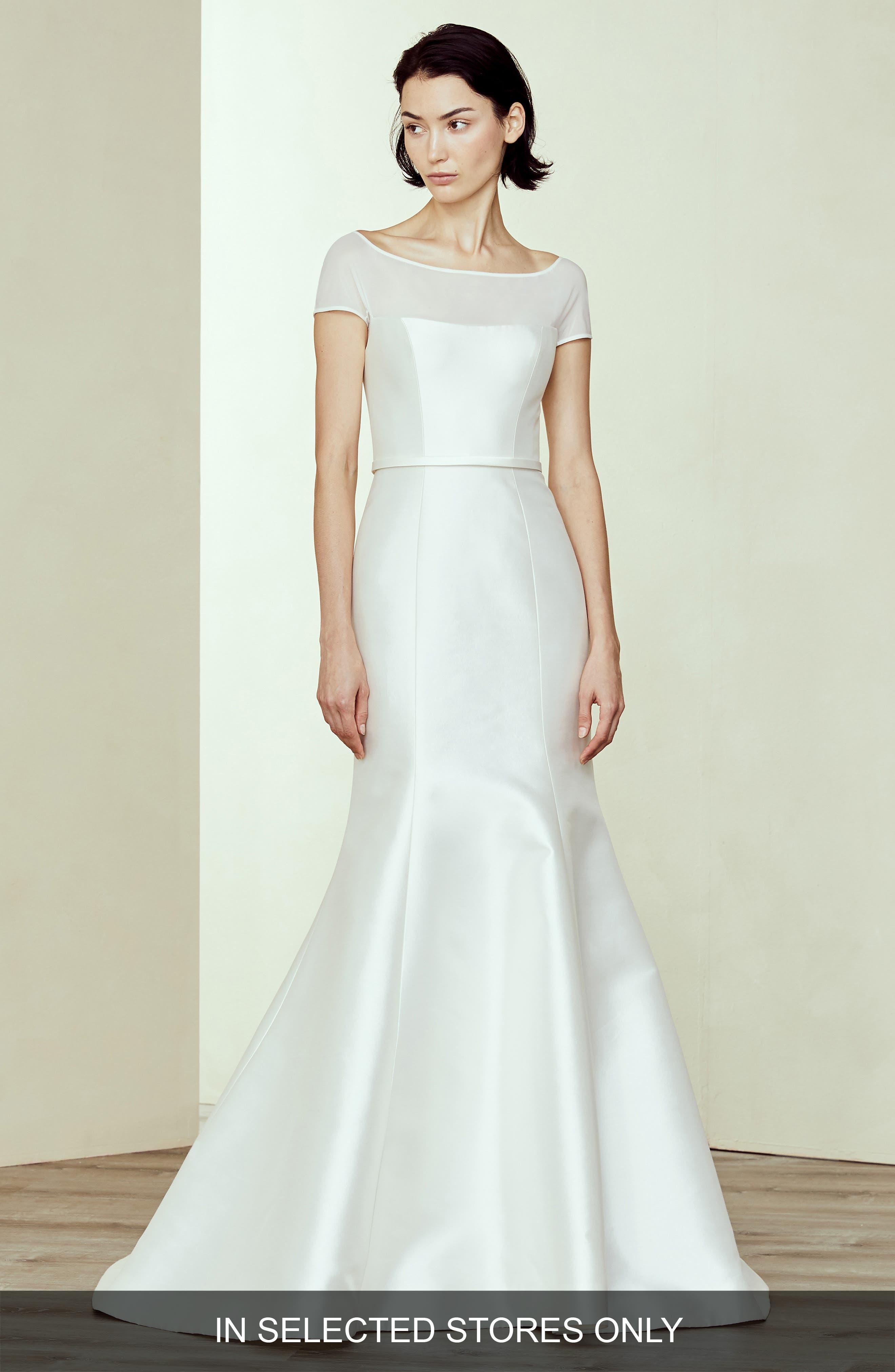 Amsale Denver Silk & Wool Off The Shoulder Weddding Dress, Size IN STORE ONLY - Ivory