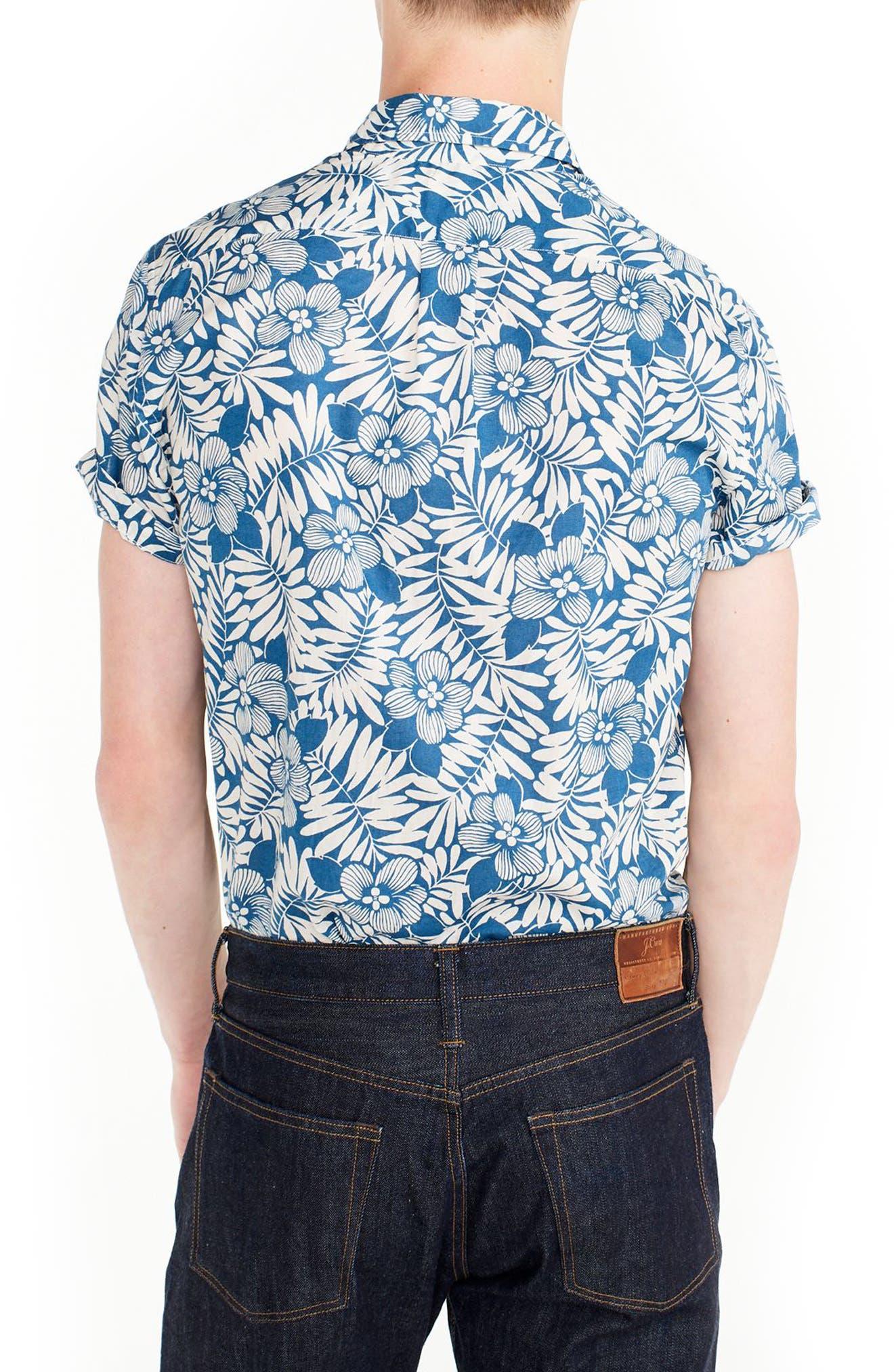 Secret Wash Short Sleeve Fern Print Sport Shirt,                             Alternate thumbnail 2, color,                             400