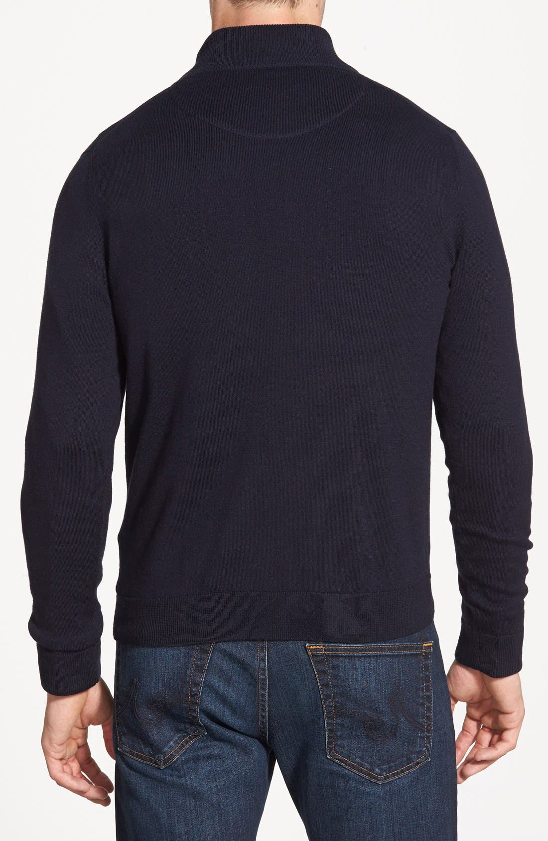 Half Zip Cotton & Cashmere Pullover,                             Alternate thumbnail 8, color,                             NAVY NIGHT