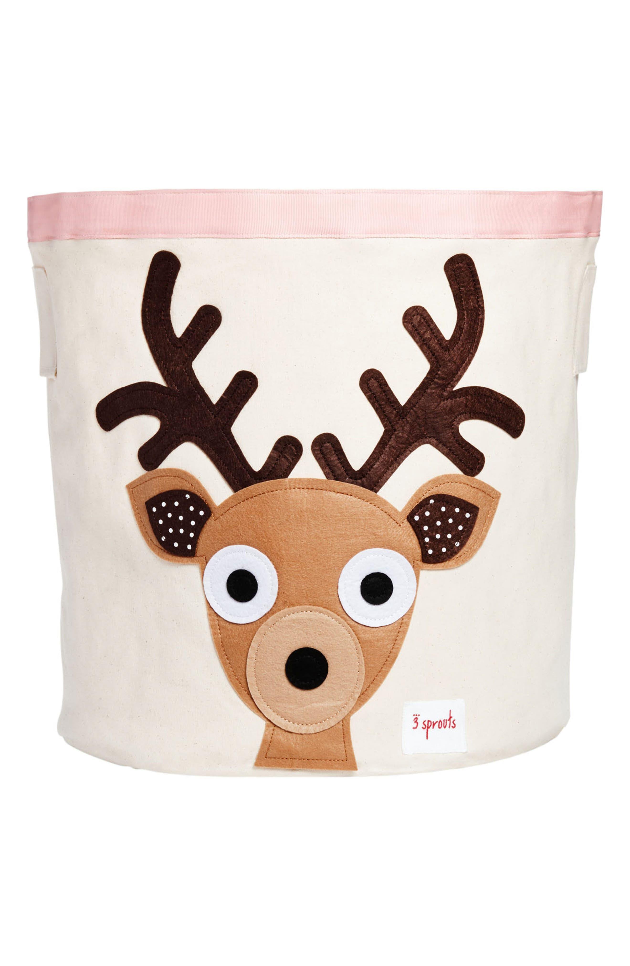 Deer Canvas Storage Bin,                         Main,                         color, 200