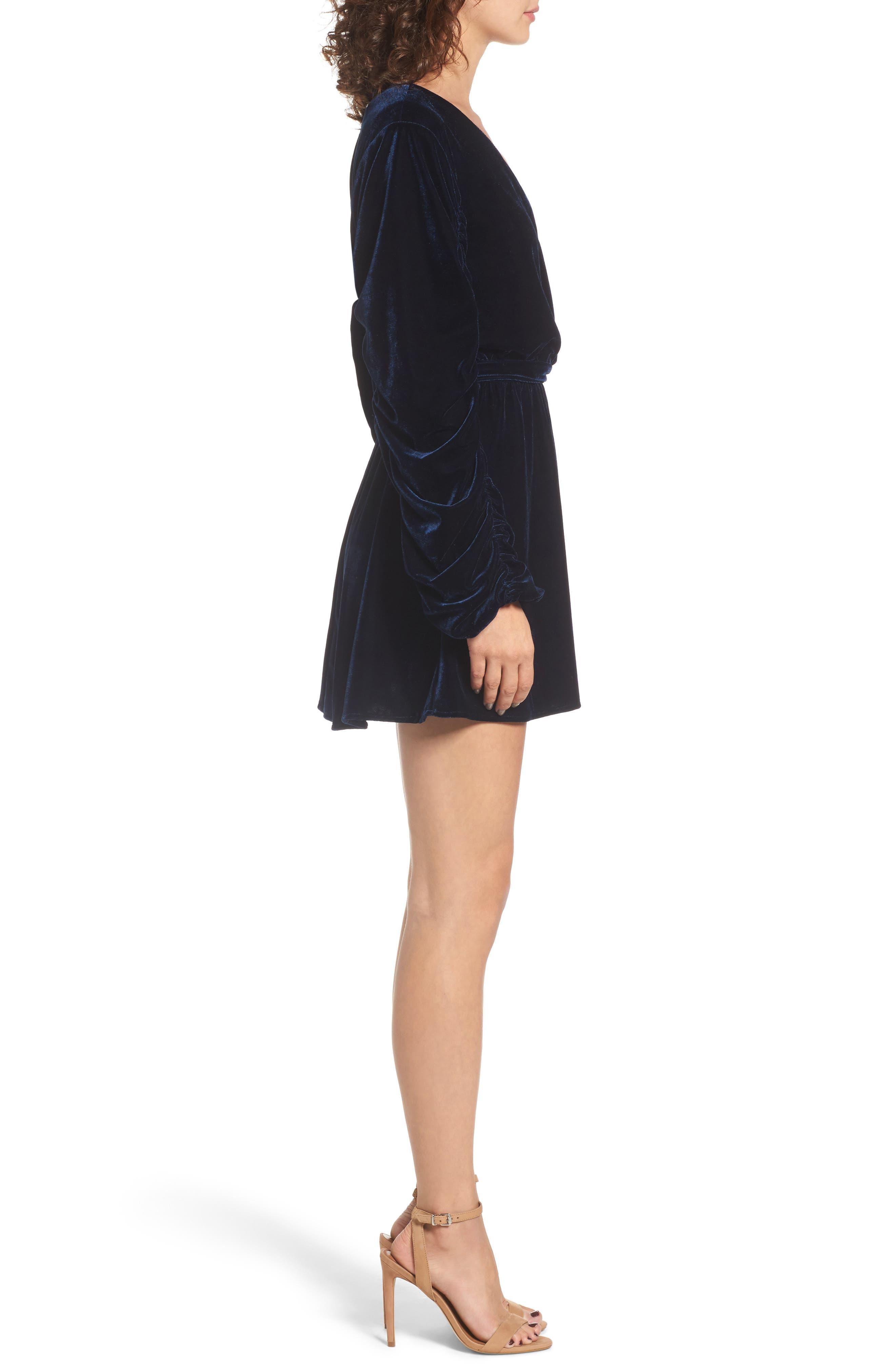 Tawney Velvet Wrap Dress,                             Alternate thumbnail 3, color,                             400