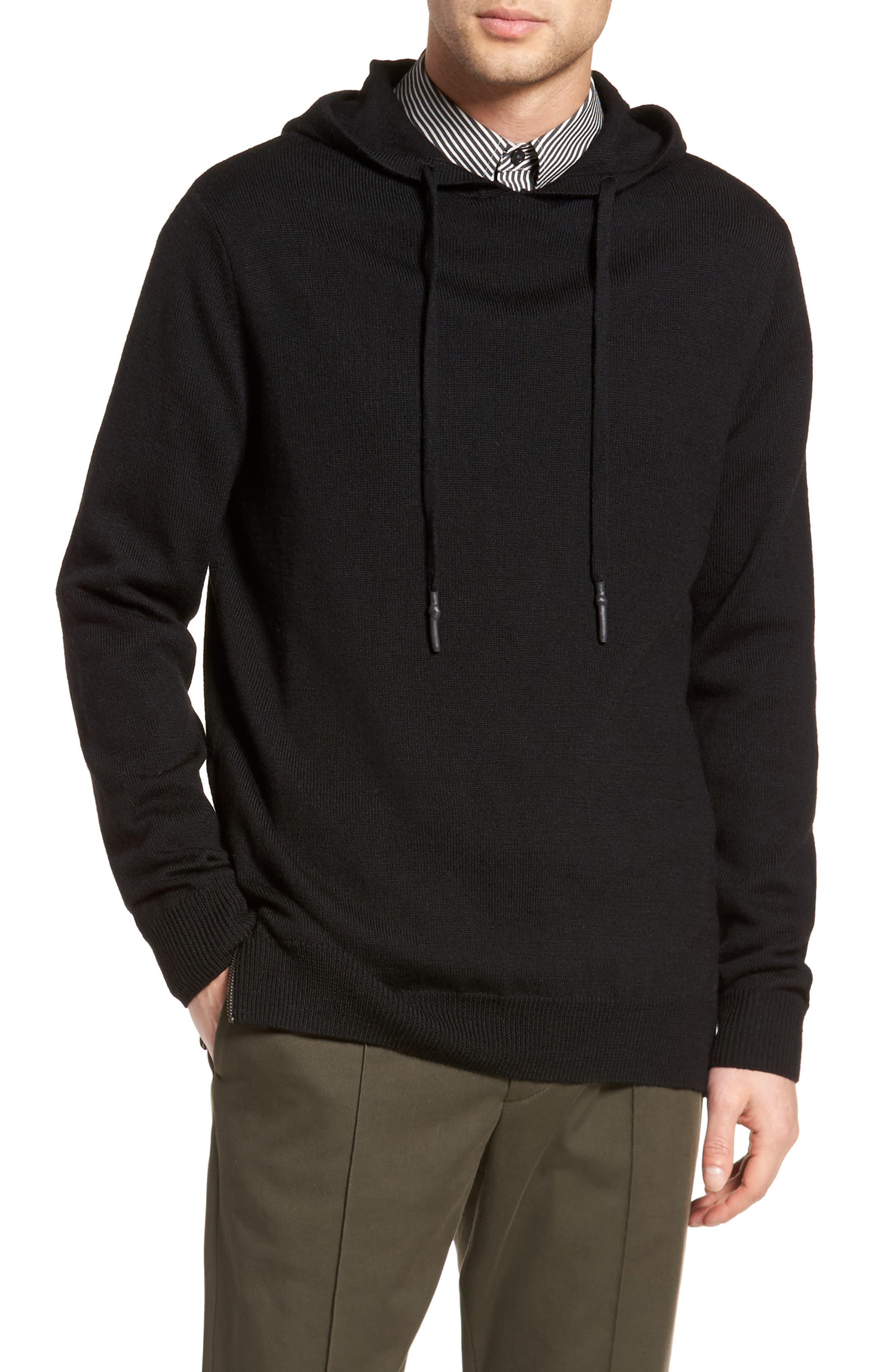 Regular Fit Merino Hooded Sweater,                             Main thumbnail 1, color,                             001