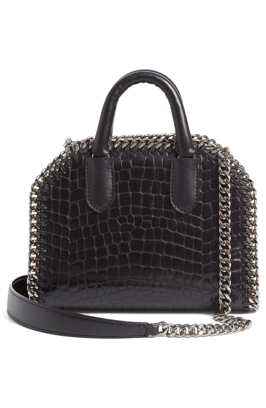 Mini Falabella Faux Leather Box Satchel,                             Alternate thumbnail 2, color,                             001