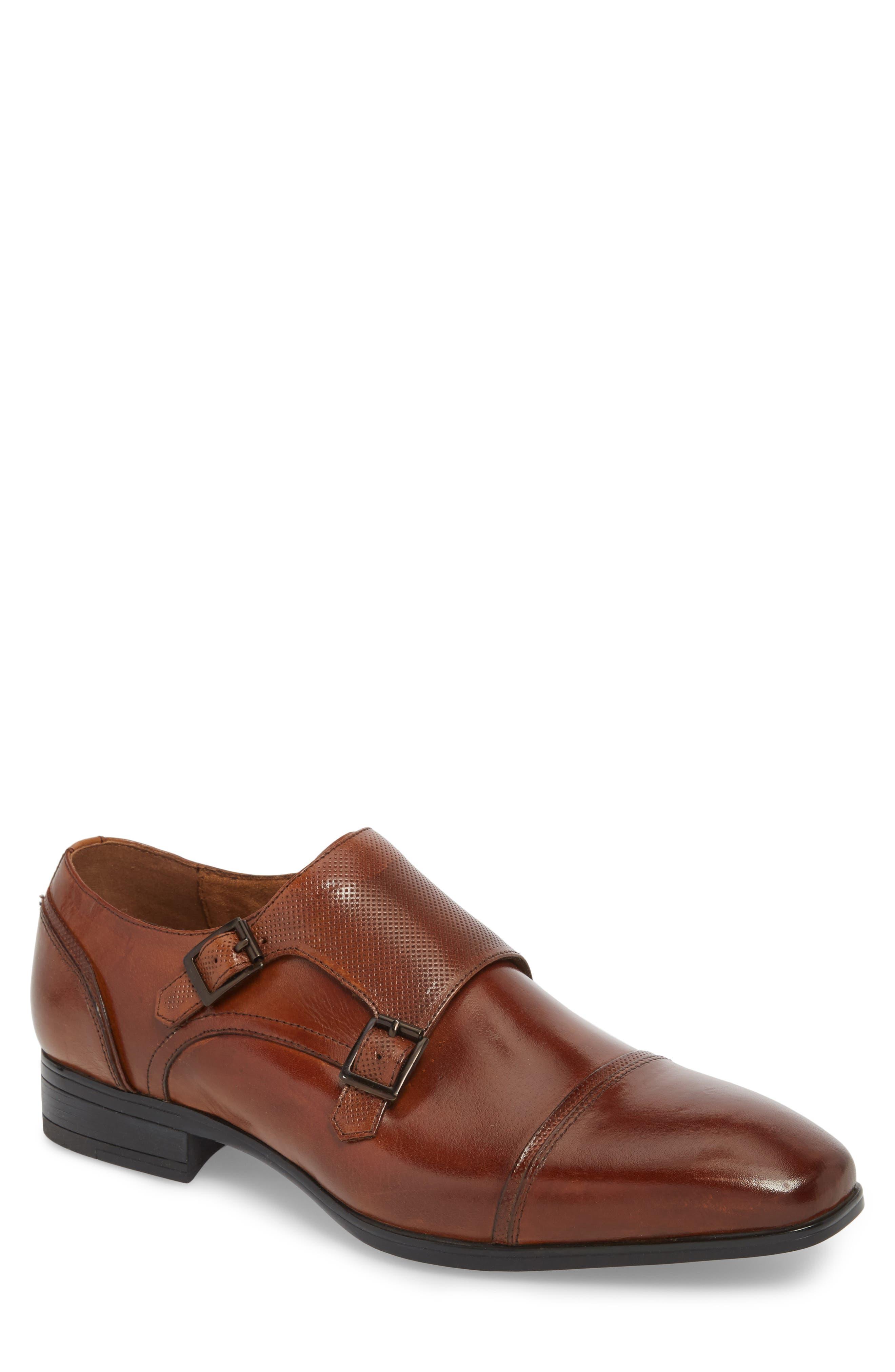 Oliver Cap Toe Monk Shoe,                         Main,                         color, COGNAC LEATHER
