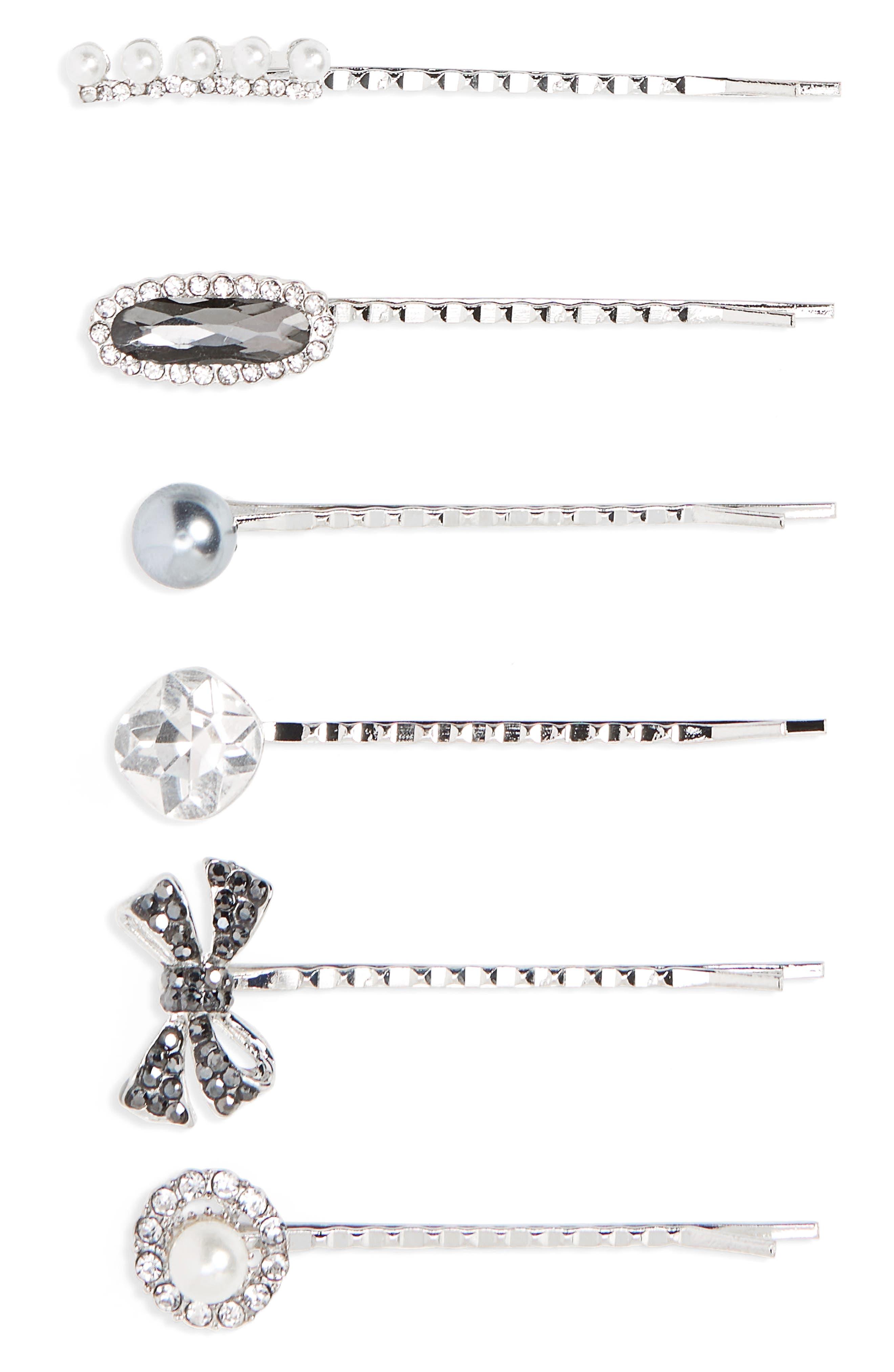 6-Pack Imitation Pearl & Crystal Bobby Pins,                         Main,                         color,