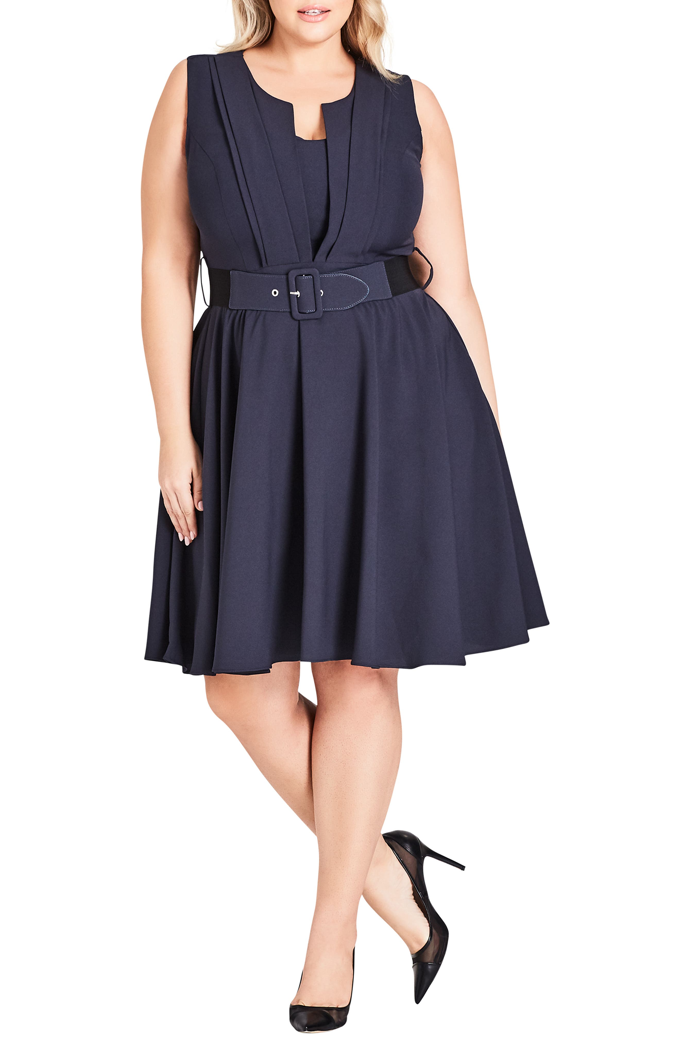 Vintage Veronica Belted Pleat Fit & Flare Dress,                             Main thumbnail 1, color,                             SMOKE