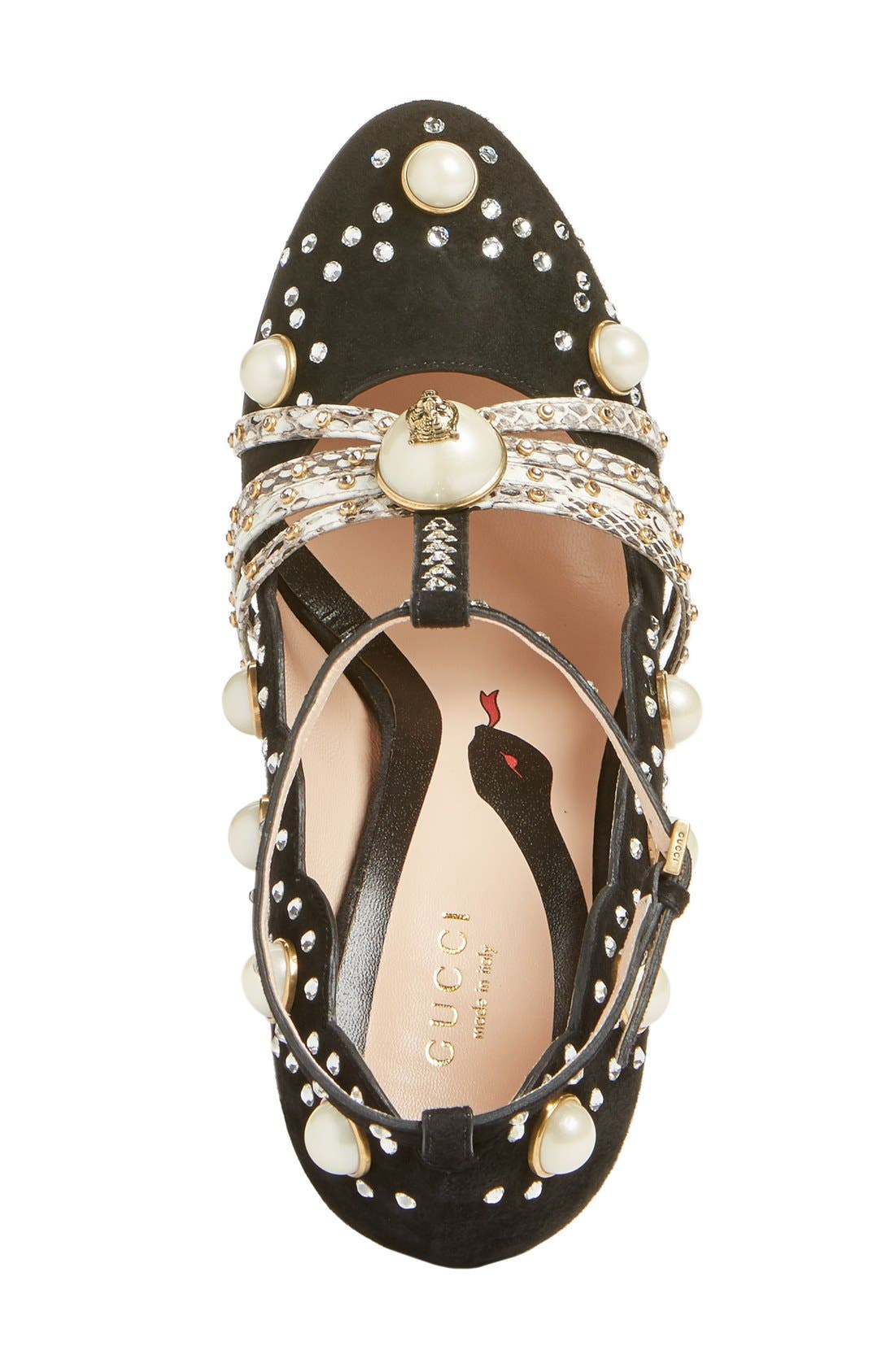 Ofelia Pearly Crystal Embellished Pump,                             Alternate thumbnail 3, color,                             001