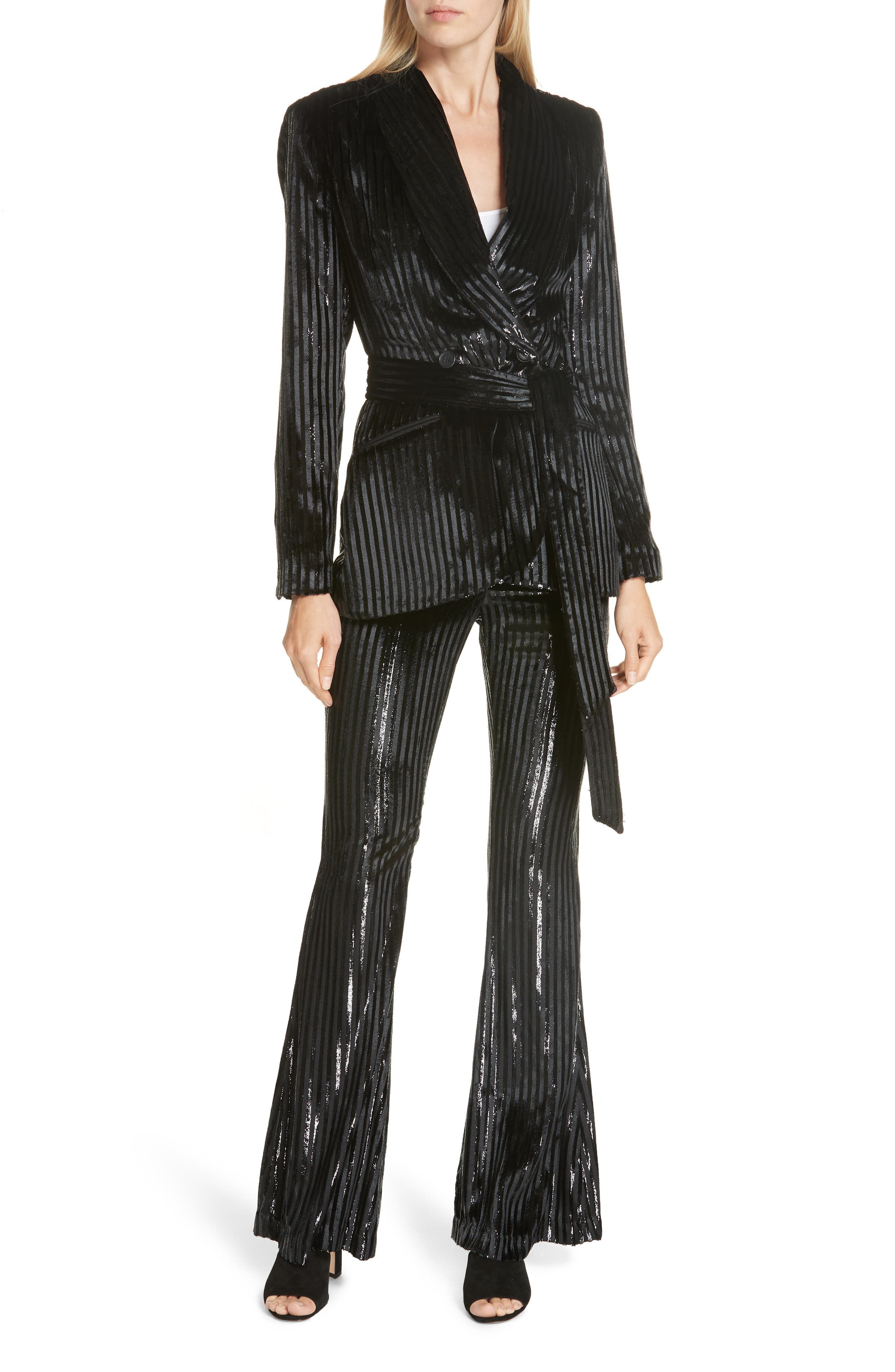Velvet Stripe Tie Waist Blazer,                             Alternate thumbnail 7, color,                             BLACK LAME STRIPE