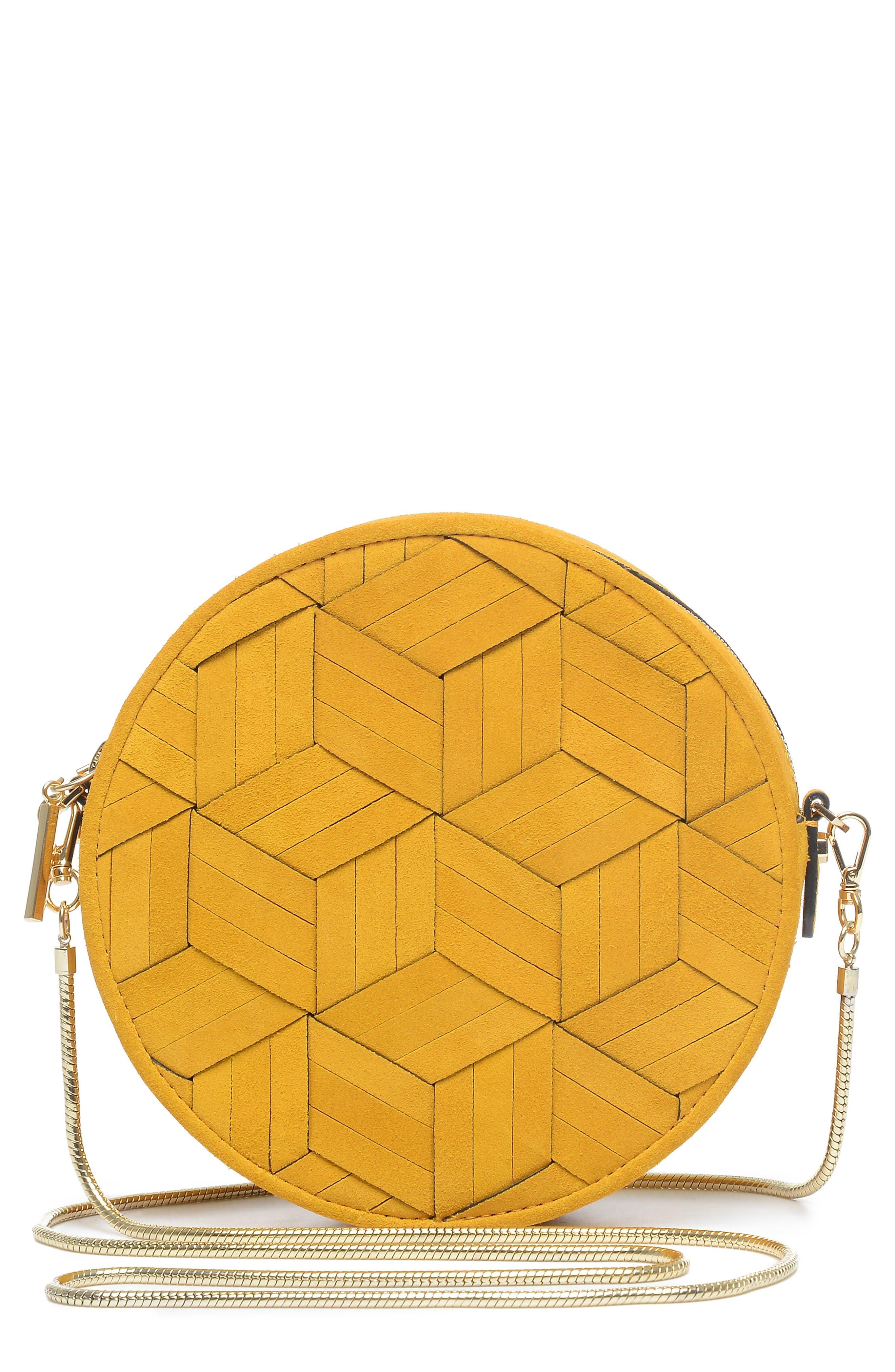 WELDEN Mini Meridian Suede Crossbody Bag - Yellow in Mustard
