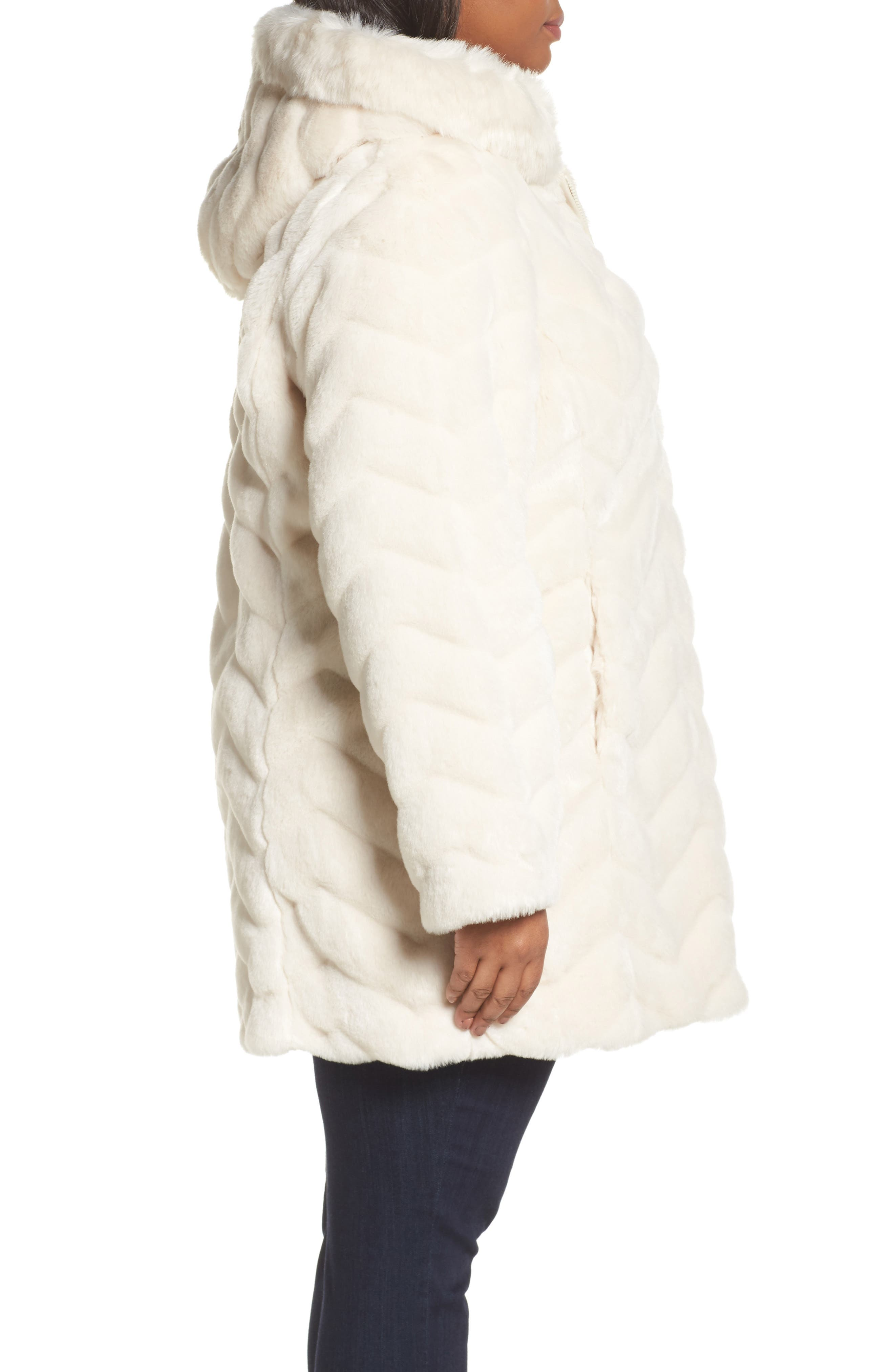 Hooded Chevron Faux Fur Coat,                             Alternate thumbnail 3, color,                             901