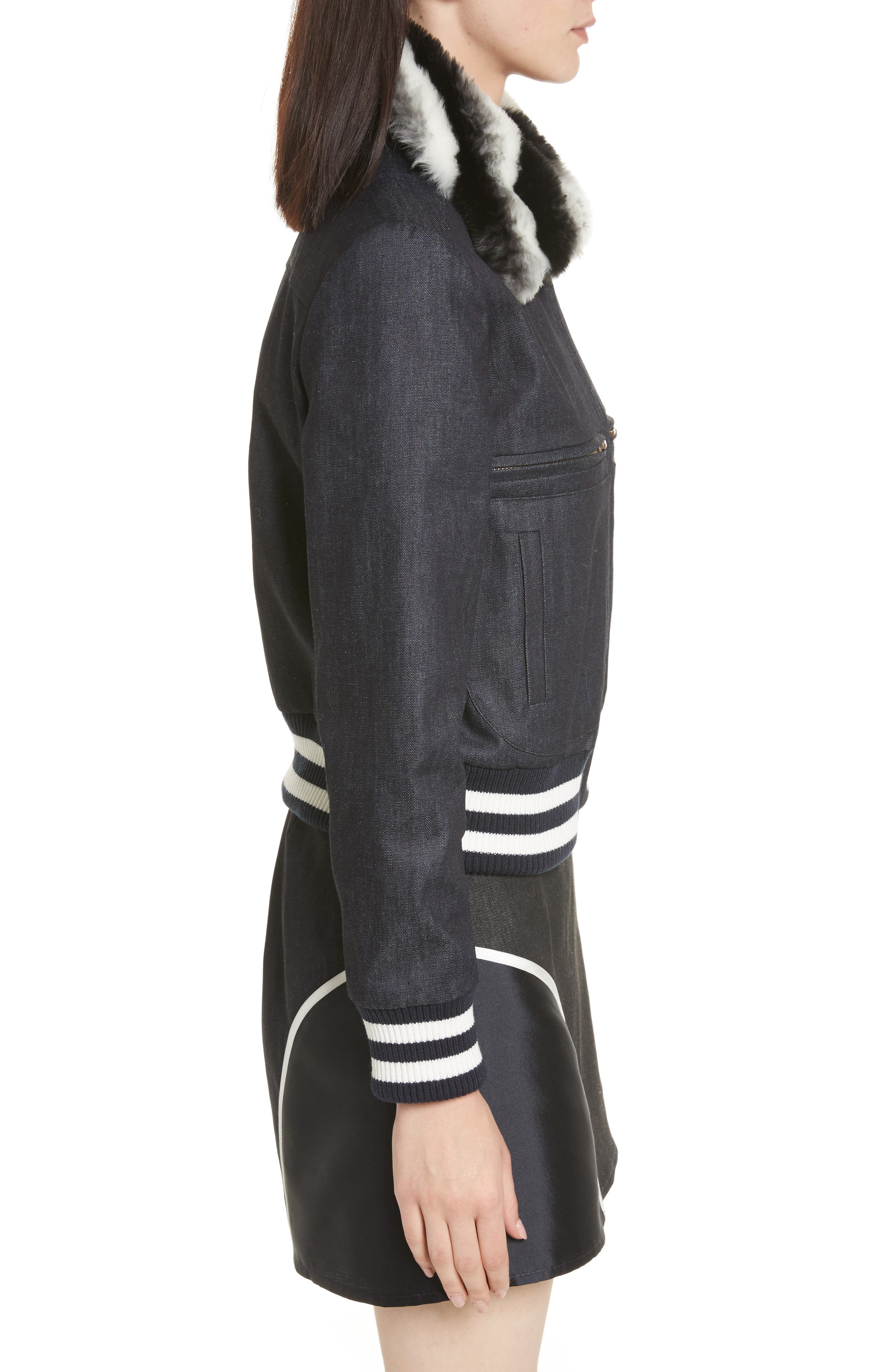 Faux Fur Collar Bomber Jacket,                             Alternate thumbnail 3, color,                             400