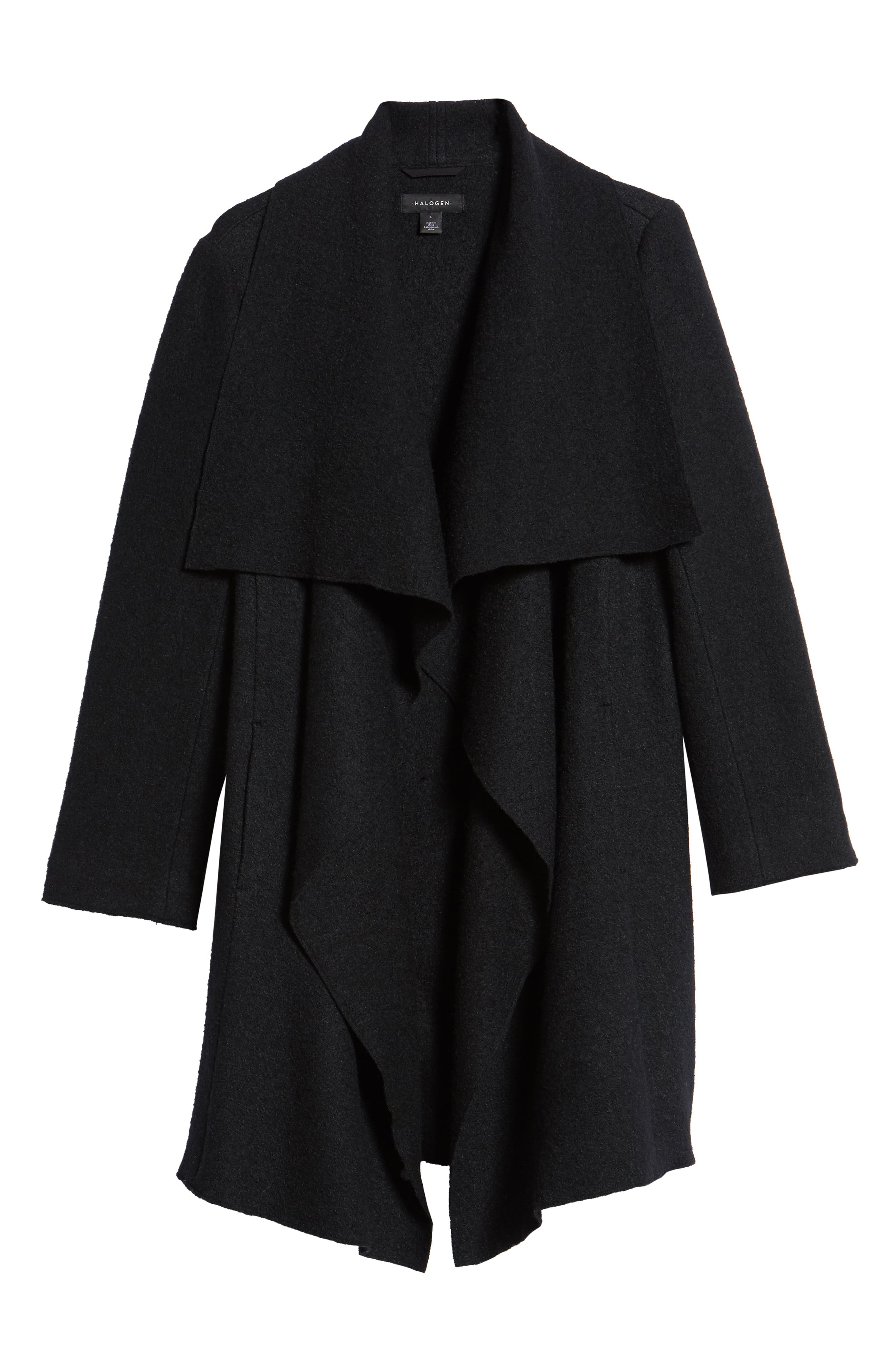 Boiled Wool Blend Drape Front Coat,                             Alternate thumbnail 6, color,                             001