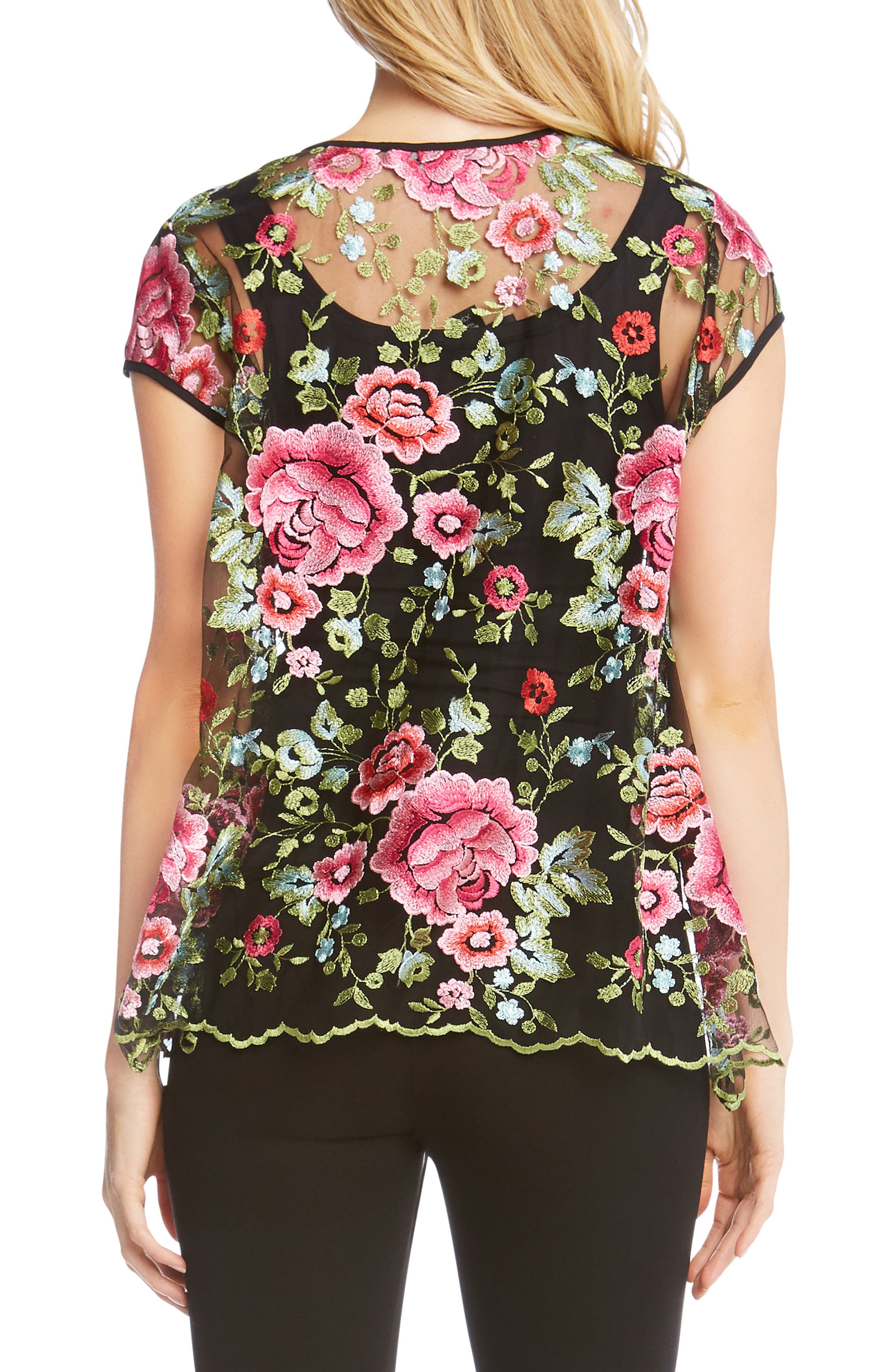 Embroidered Flare Top,                             Alternate thumbnail 2, color,                             008