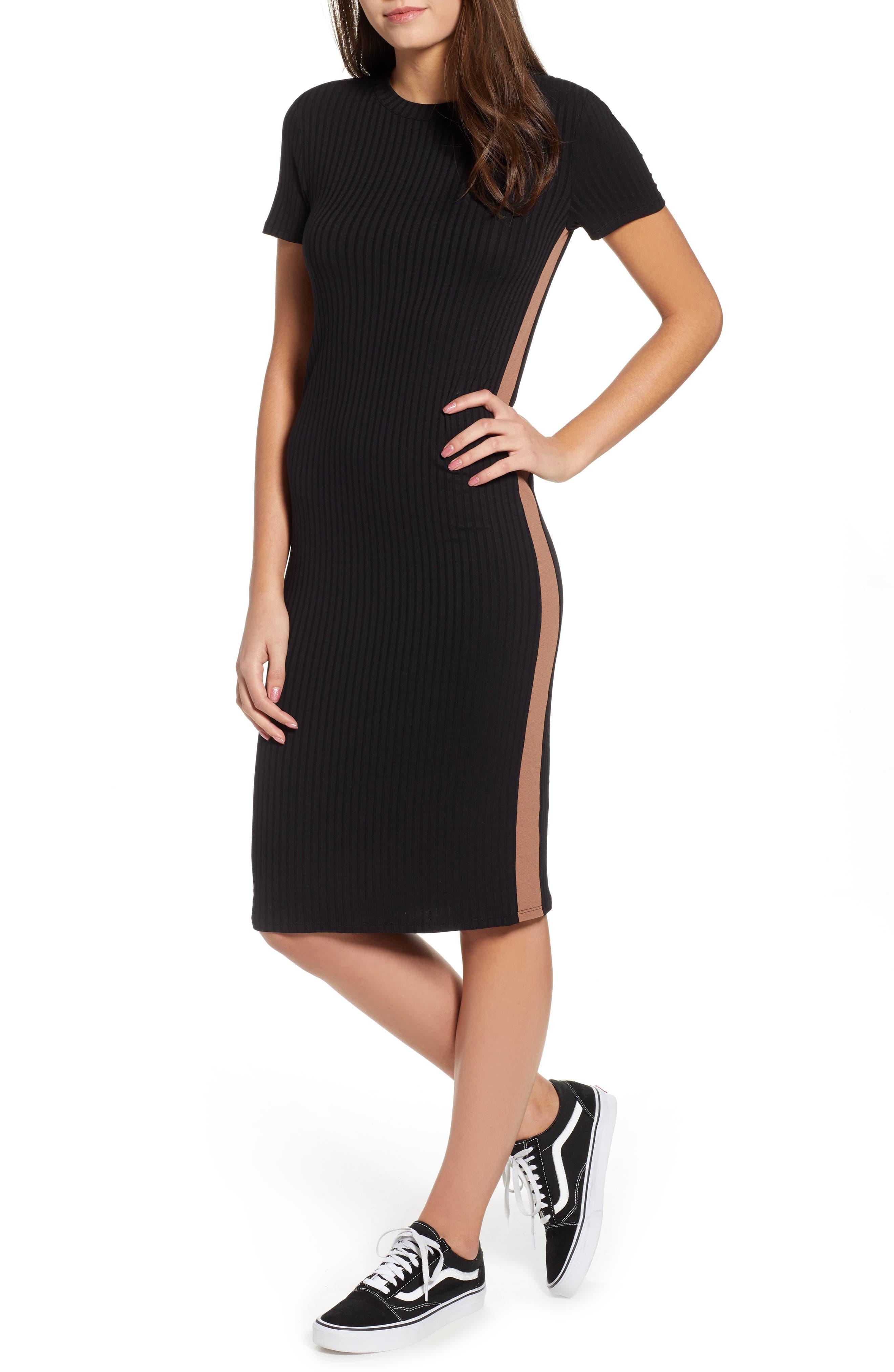 Side Stripe Rib Knit Dress,                             Main thumbnail 1, color,                             001