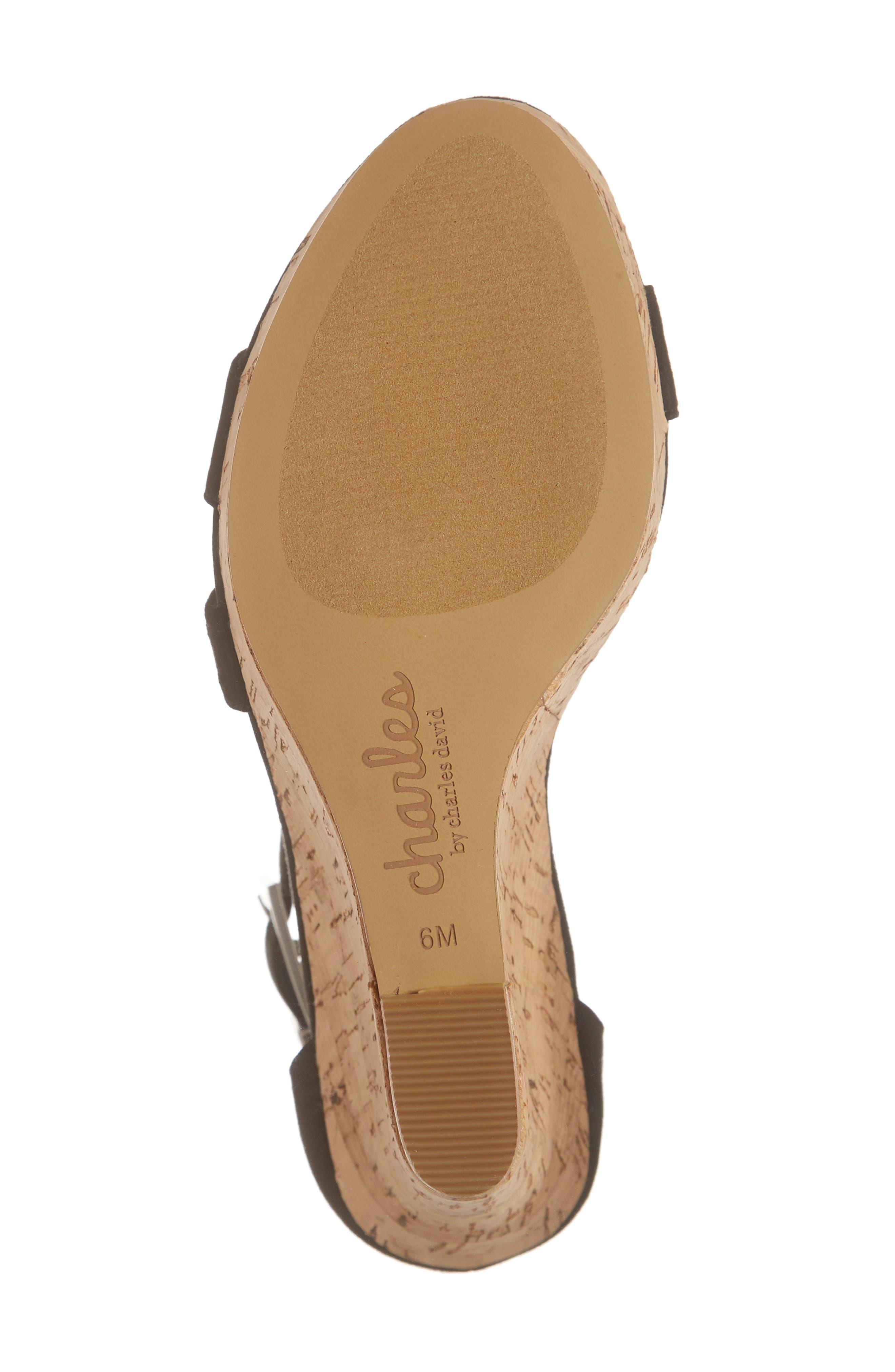 Landon Perforated Wedge Sandal,                             Alternate thumbnail 6, color,                             BLACK FABRIC