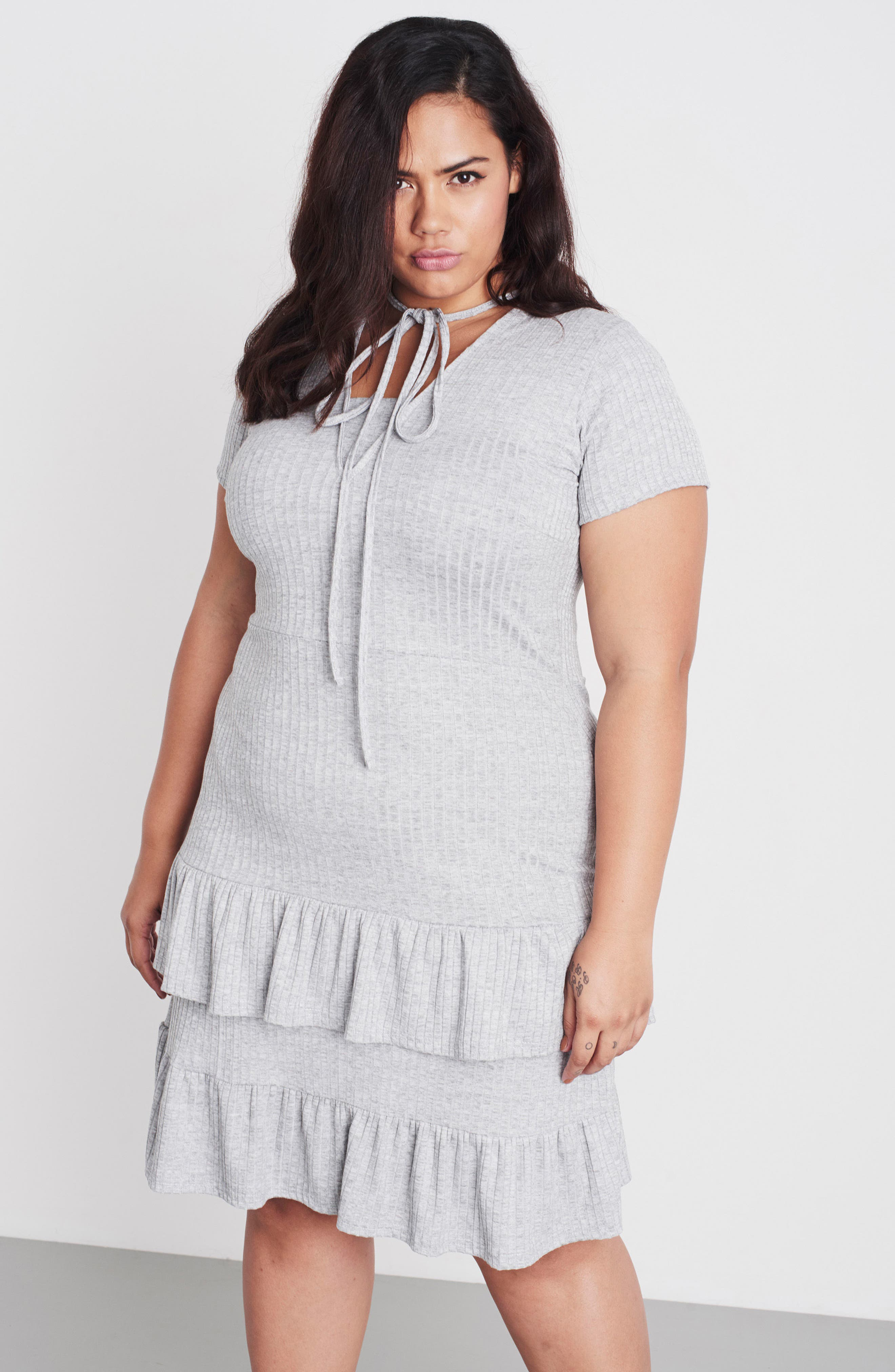 Fit & Flare Ribbed Dress,                             Alternate thumbnail 8, color,                             020