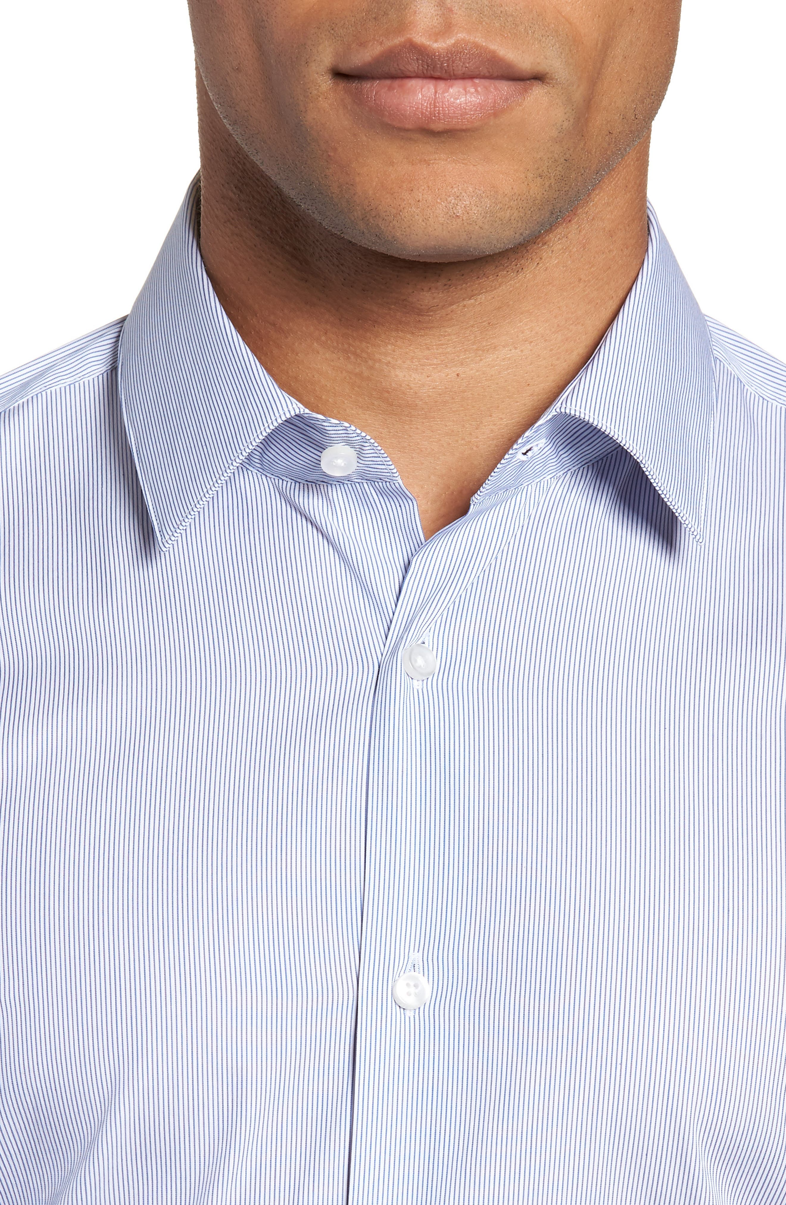 Isko Slim Fit Stretch Stripe Dress Shirt,                             Alternate thumbnail 2, color,                             BLUE