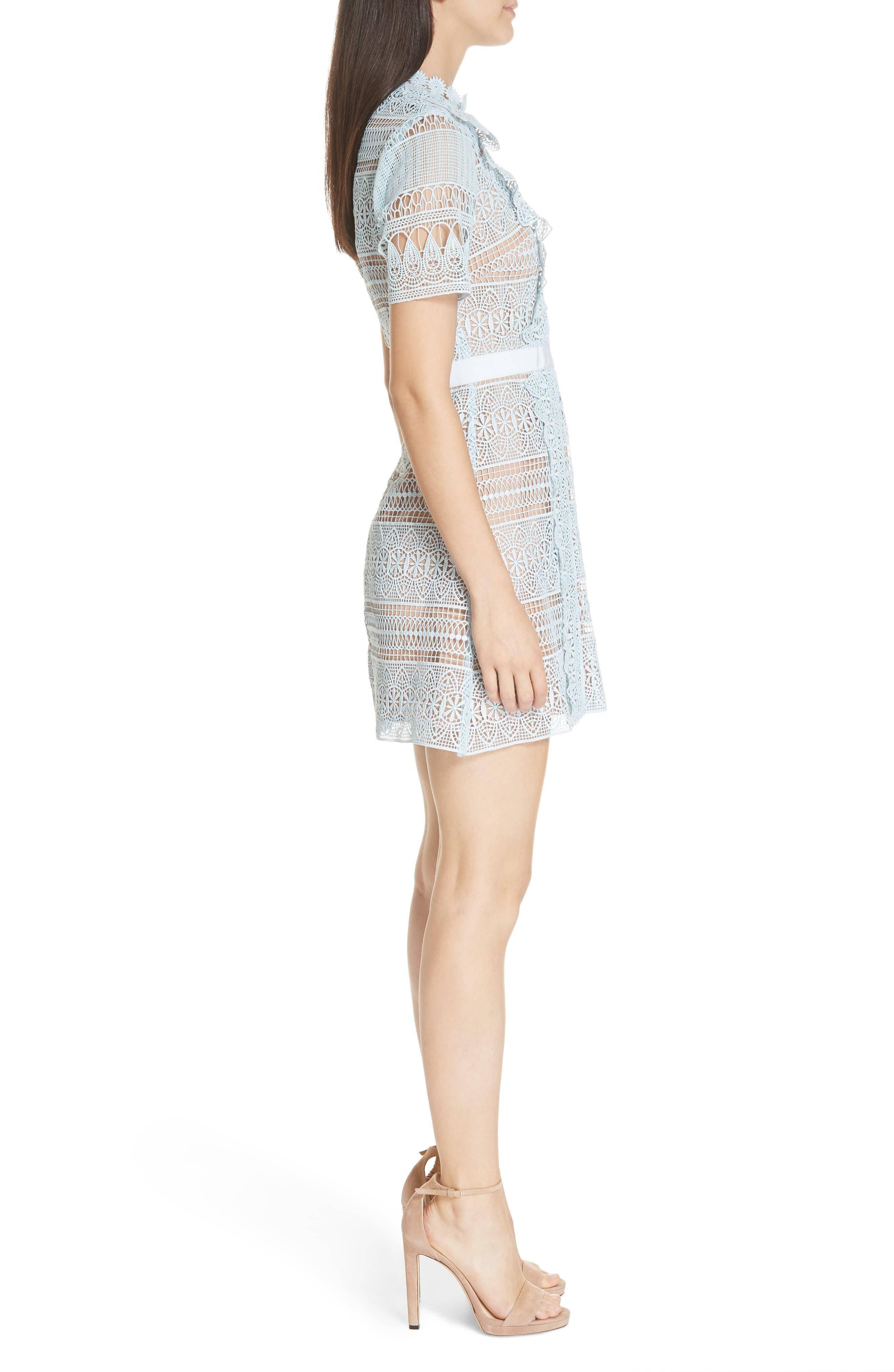 SELF-PORTRAIT,                             Lace A-Line Minidress,                             Alternate thumbnail 3, color,                             BLUE