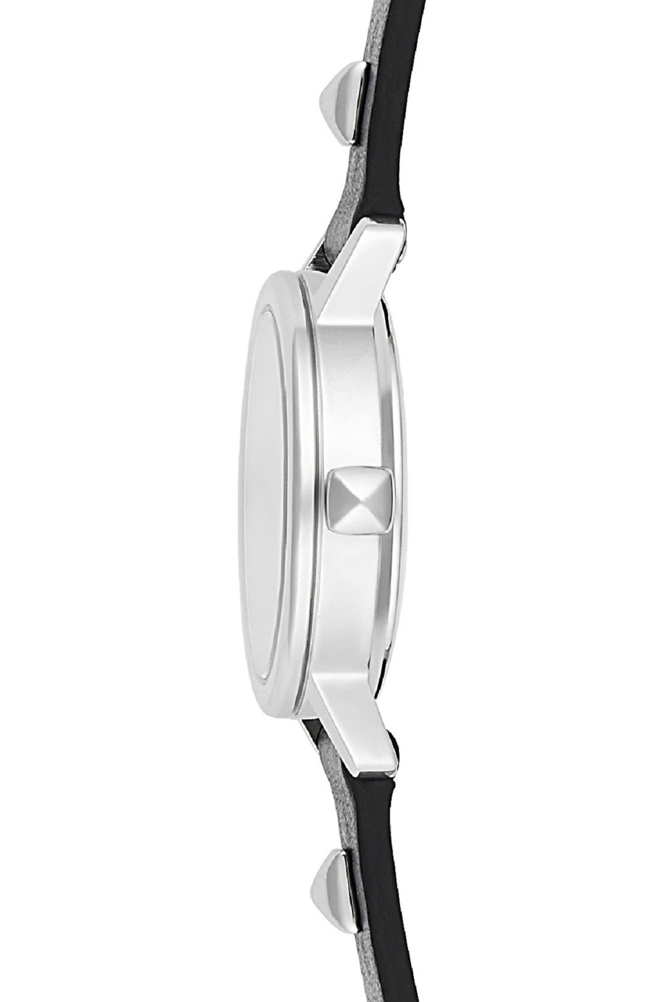 BFFL Chain and Leather Strap Watch, 25mm,                             Alternate thumbnail 3, color,                             BLACK/ SILVER