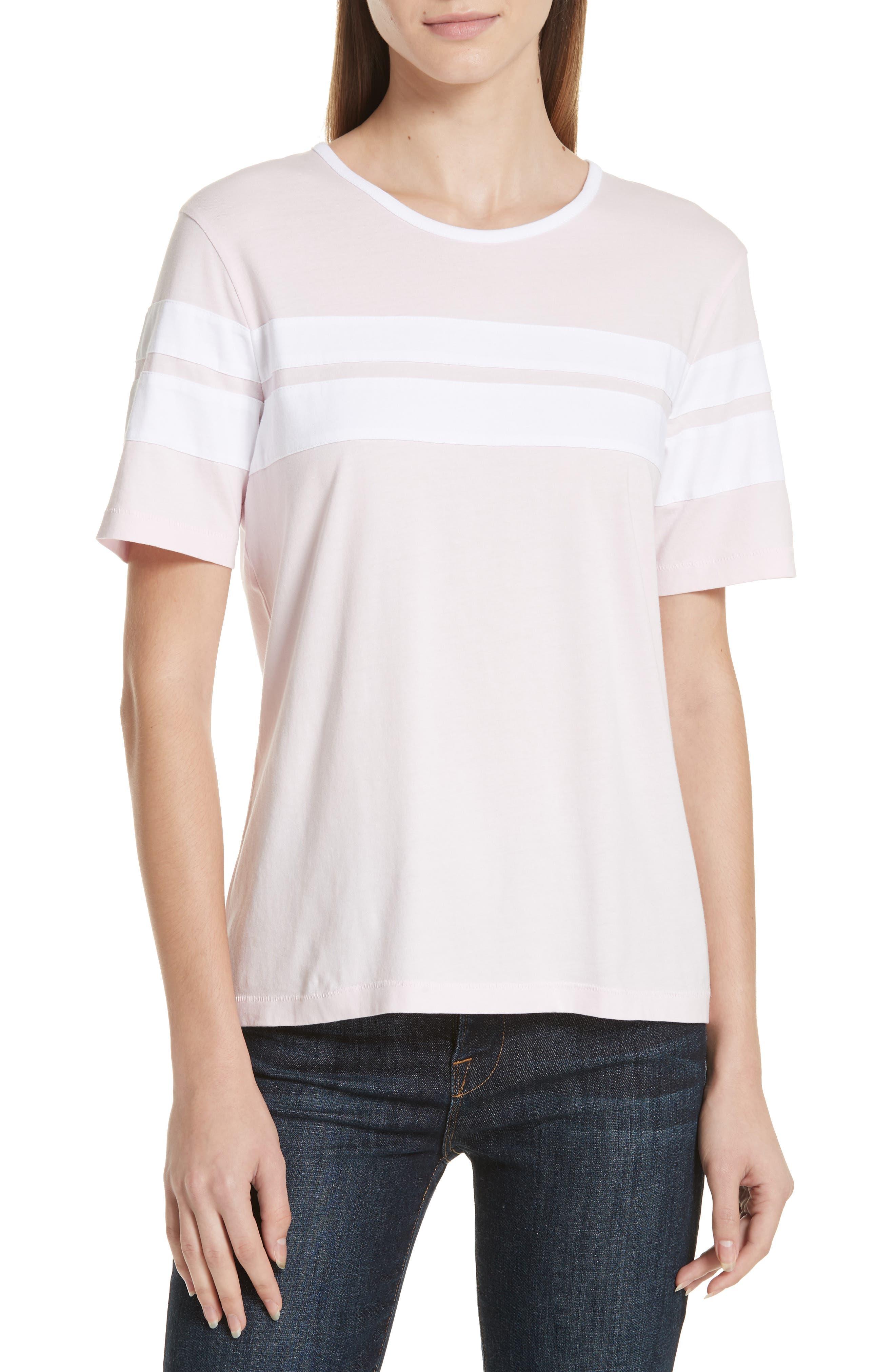 La Ligne Double Stripe Cotton Tee, Pink