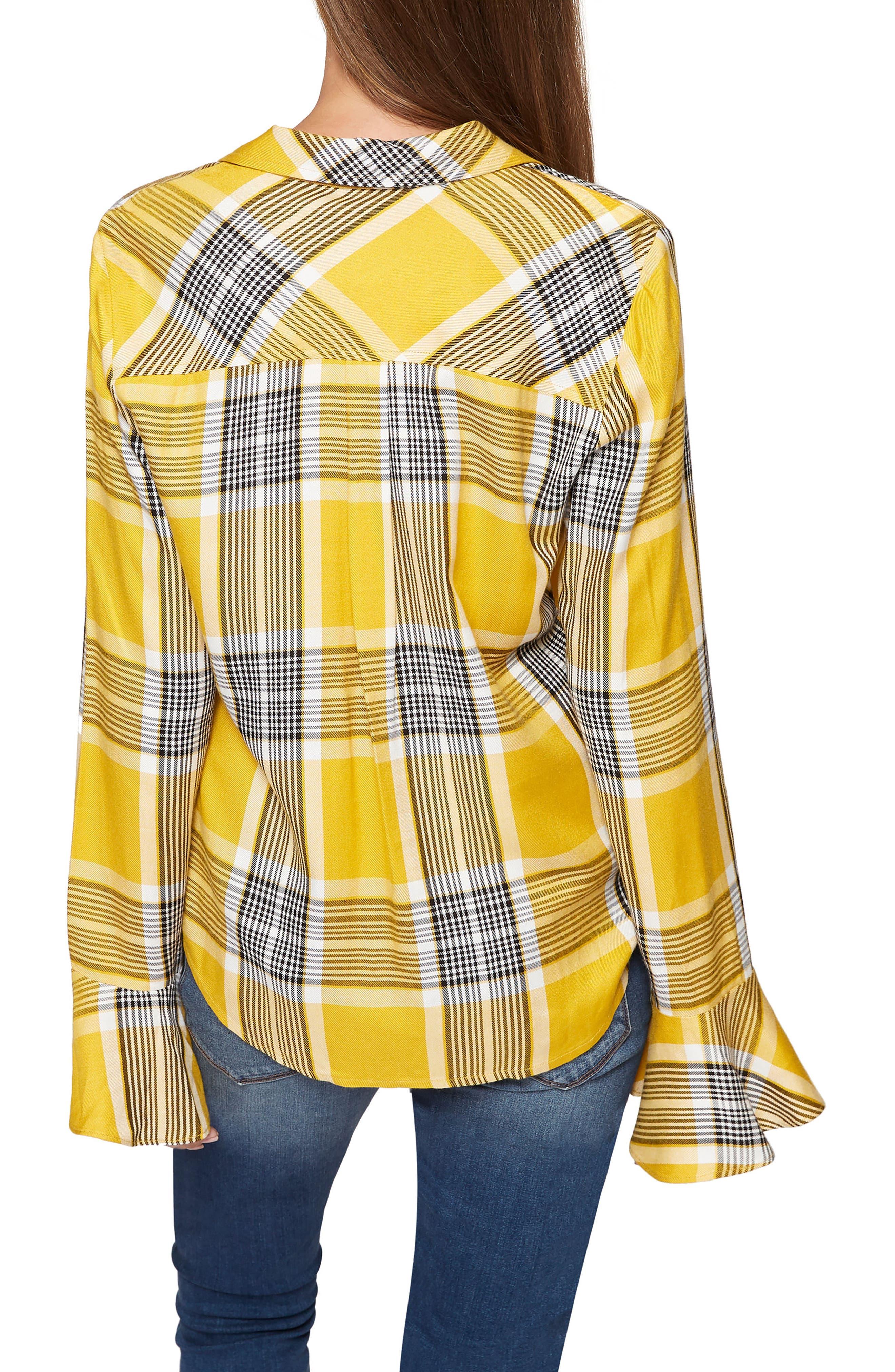 Nightscape Plaid Ruffle Cuff Shirt,                             Alternate thumbnail 11, color,
